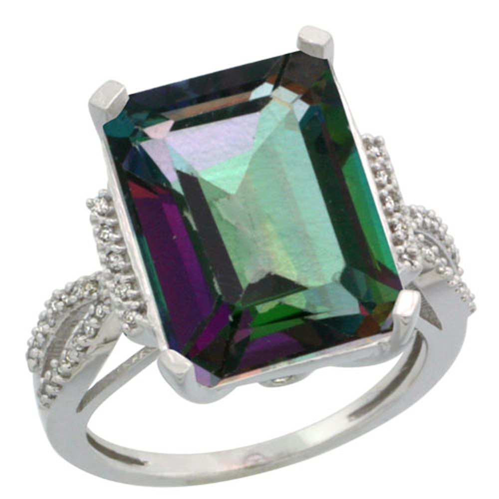 Sterling Silver Diamond Mystic Topaz Ring Emerald-cut 16x12mm, 3/4 inch wide, sizes 5-10