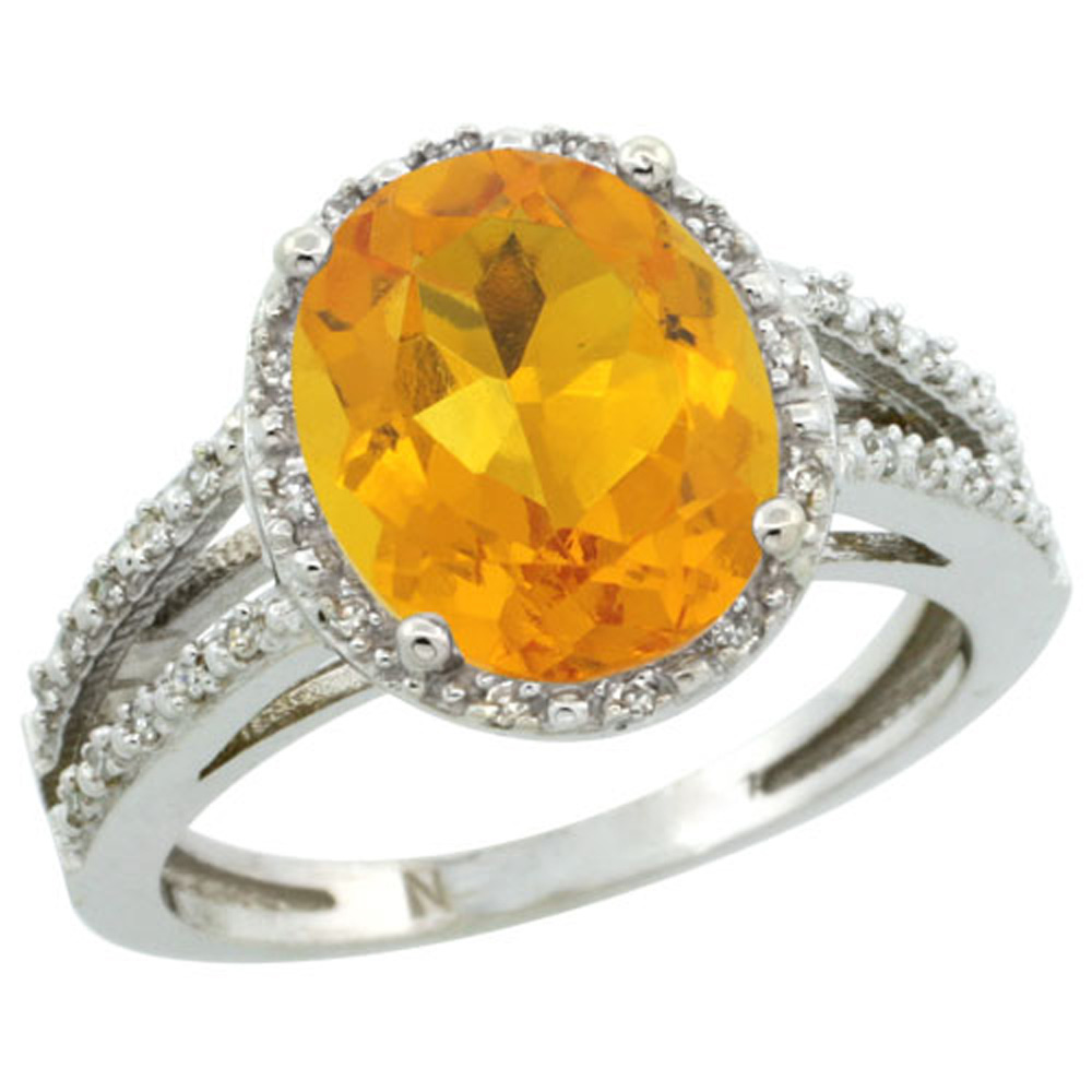 Sterling Silver Diamond Halo Natural Citrine Ring Oval 11x9mm, 7/16 inch wide, sizes 5-10