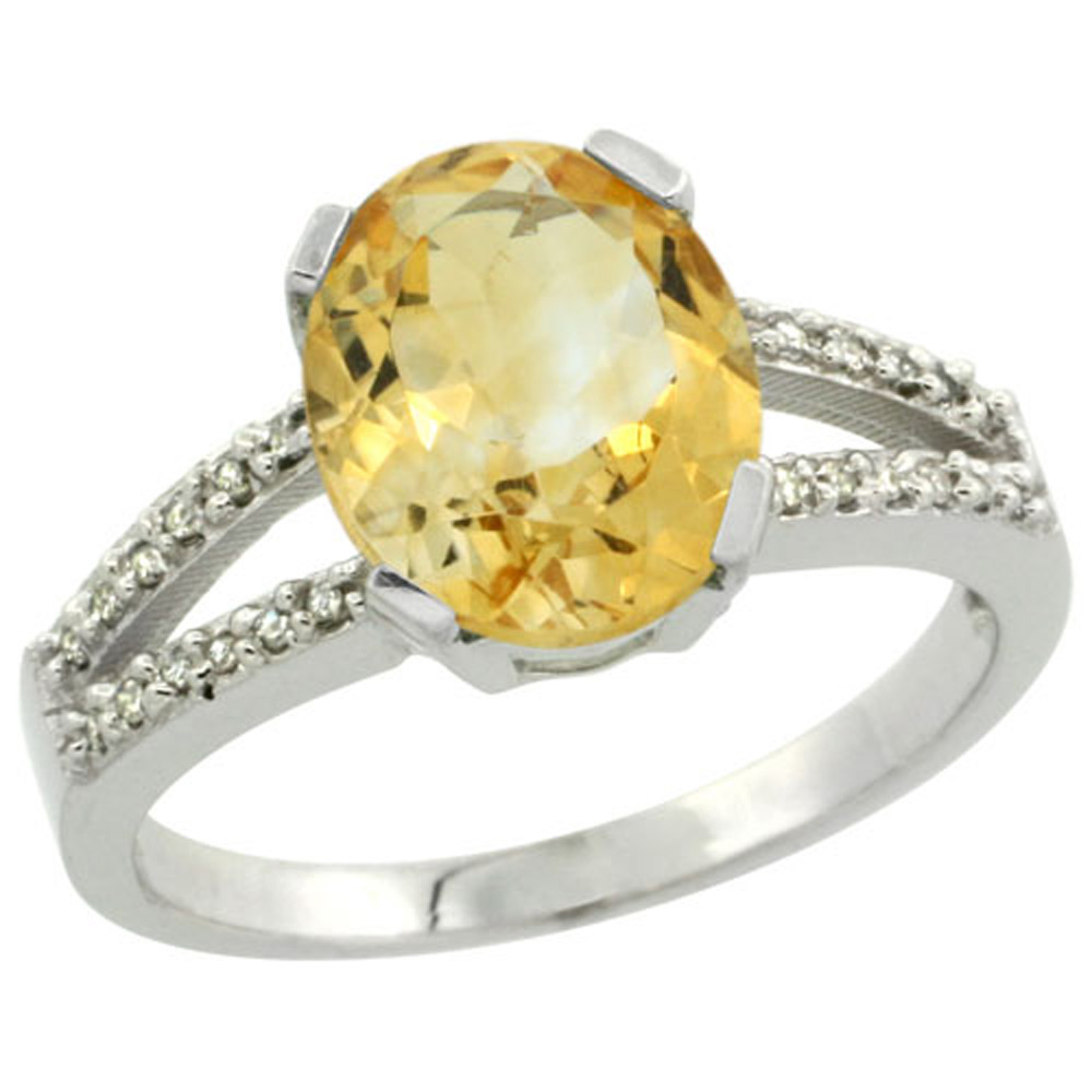 Sterling Silver Diamond Halo Natural Citrine Ring Oval 10x8mm, 3/8 inch wide, sizes 5-10