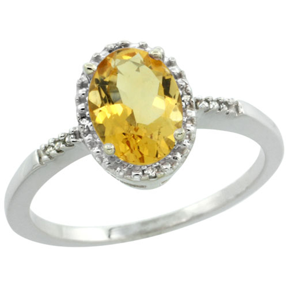 Sterling Silver Diamond Natural Citrine Ring Oval 8x6mm, 3/8 inch wide, sizes 5-10