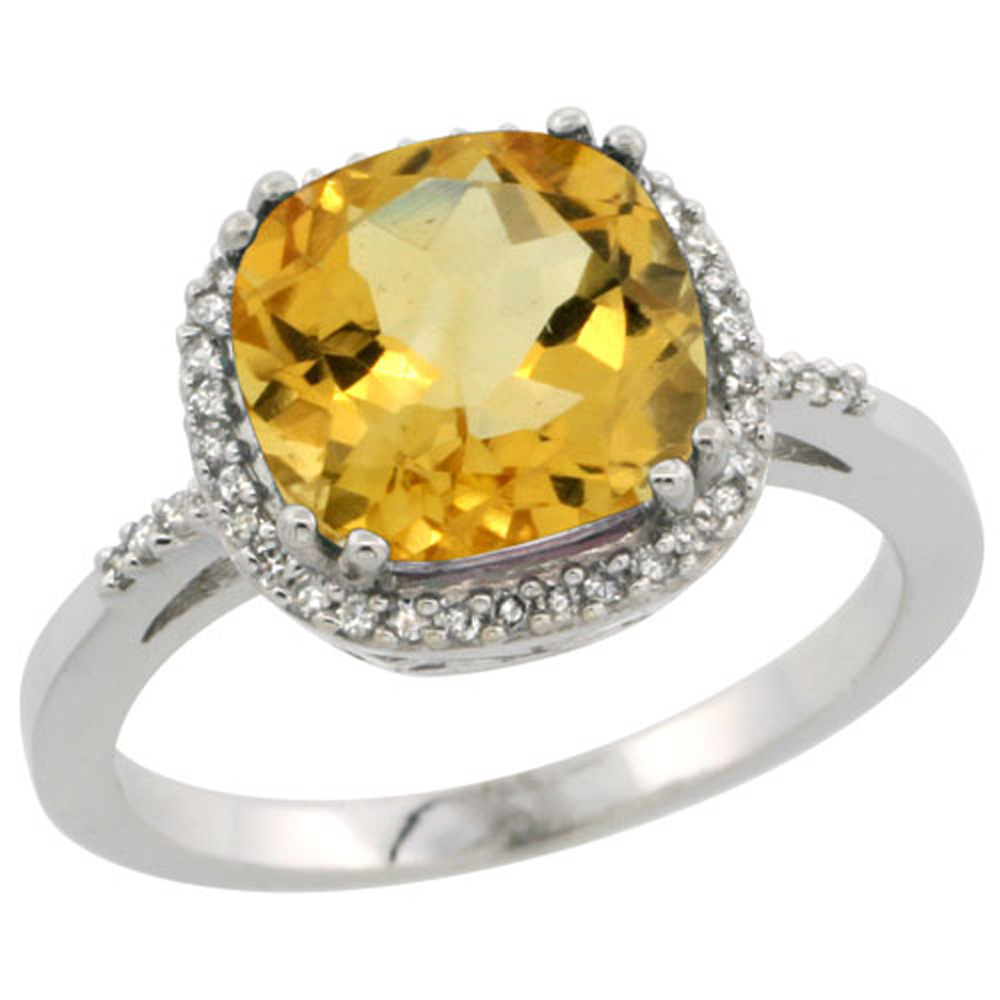 Sterling Silver Diamond Natural Citrine Ring Cushion-cut 9x9mm, 1/2 inch wide, sizes 5-10