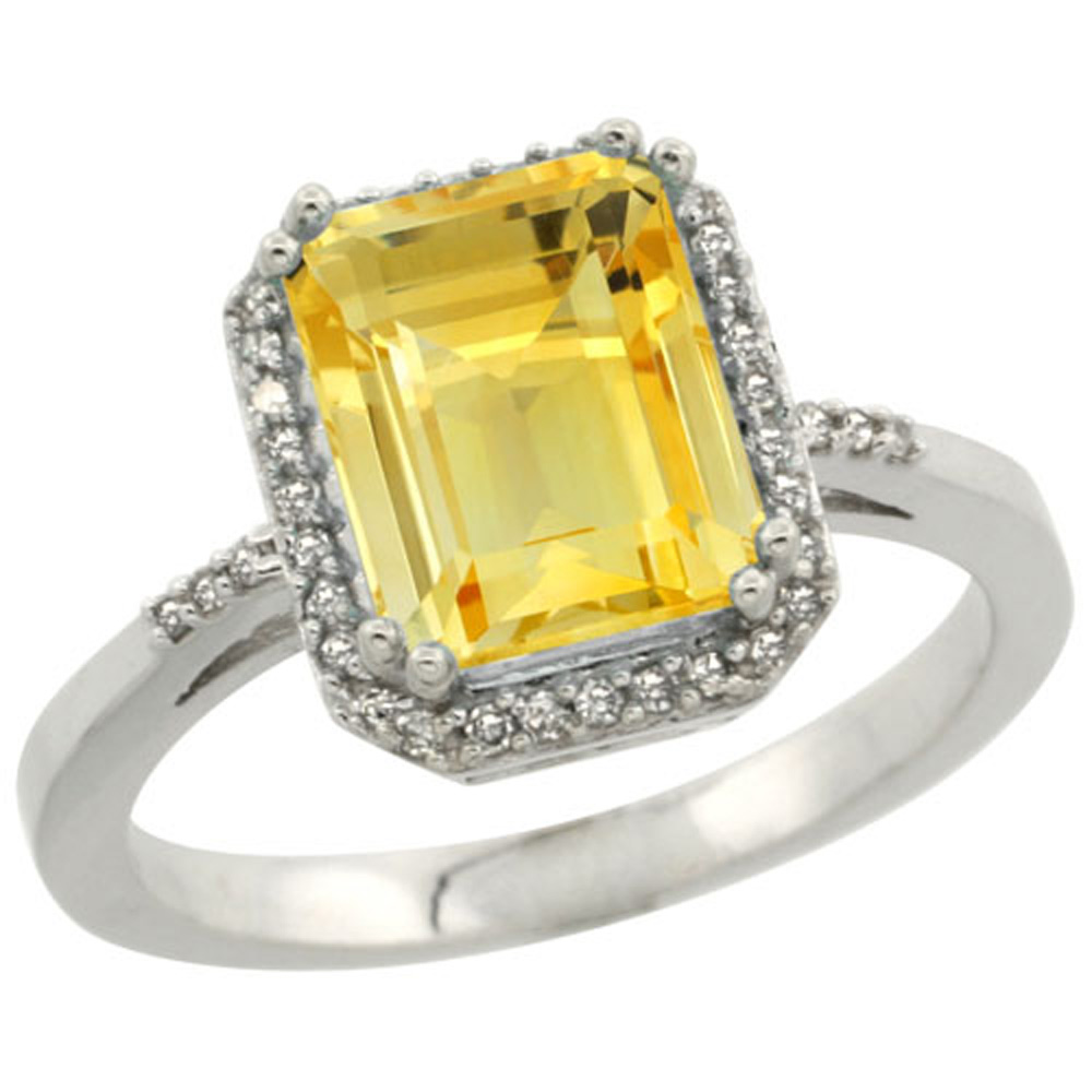Sterling Silver Diamond Natural Citrine Ring Emerald-cut 9x7mm, 1/2 inch wide, sizes 5-10