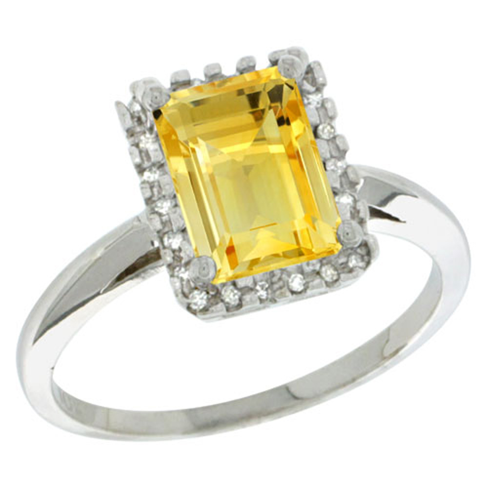 Sterling Silver Diamond Natural Citrine Ring Emerald-cut 8x6mm, 1/2 inch wide, sizes 5-10