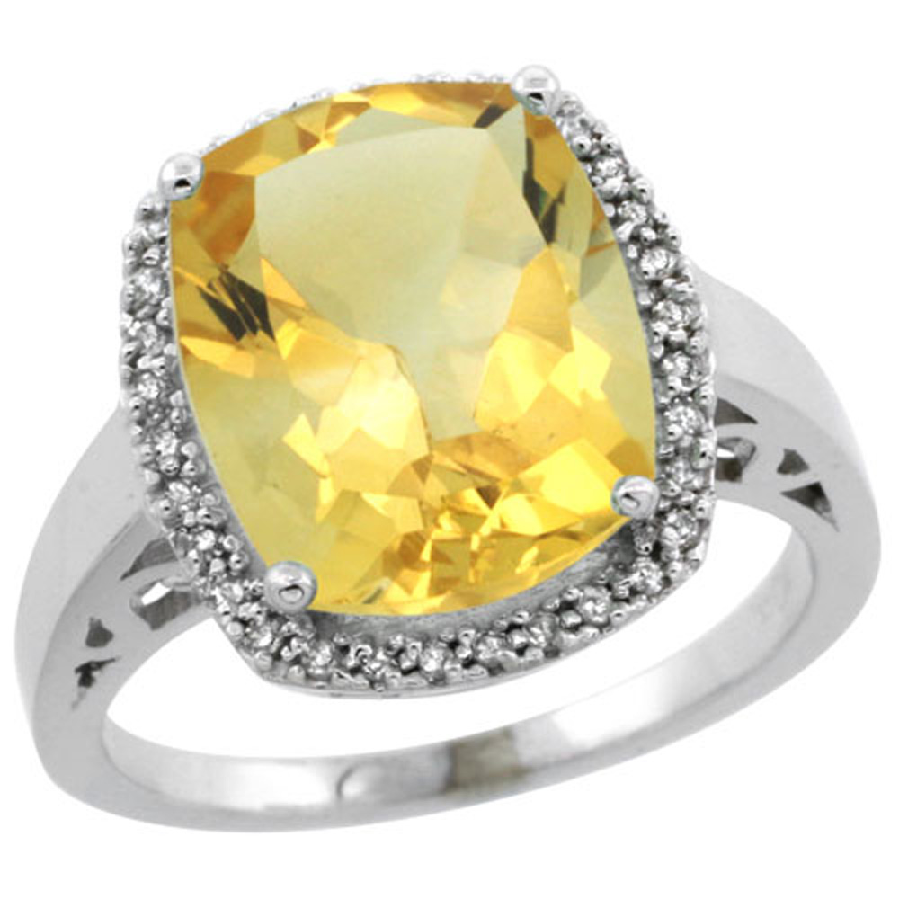 Sterling Silver Diamond Natural Citrine Ring Cushion-cut 12x10mm, 1/2 inch wide, sizes 5-10