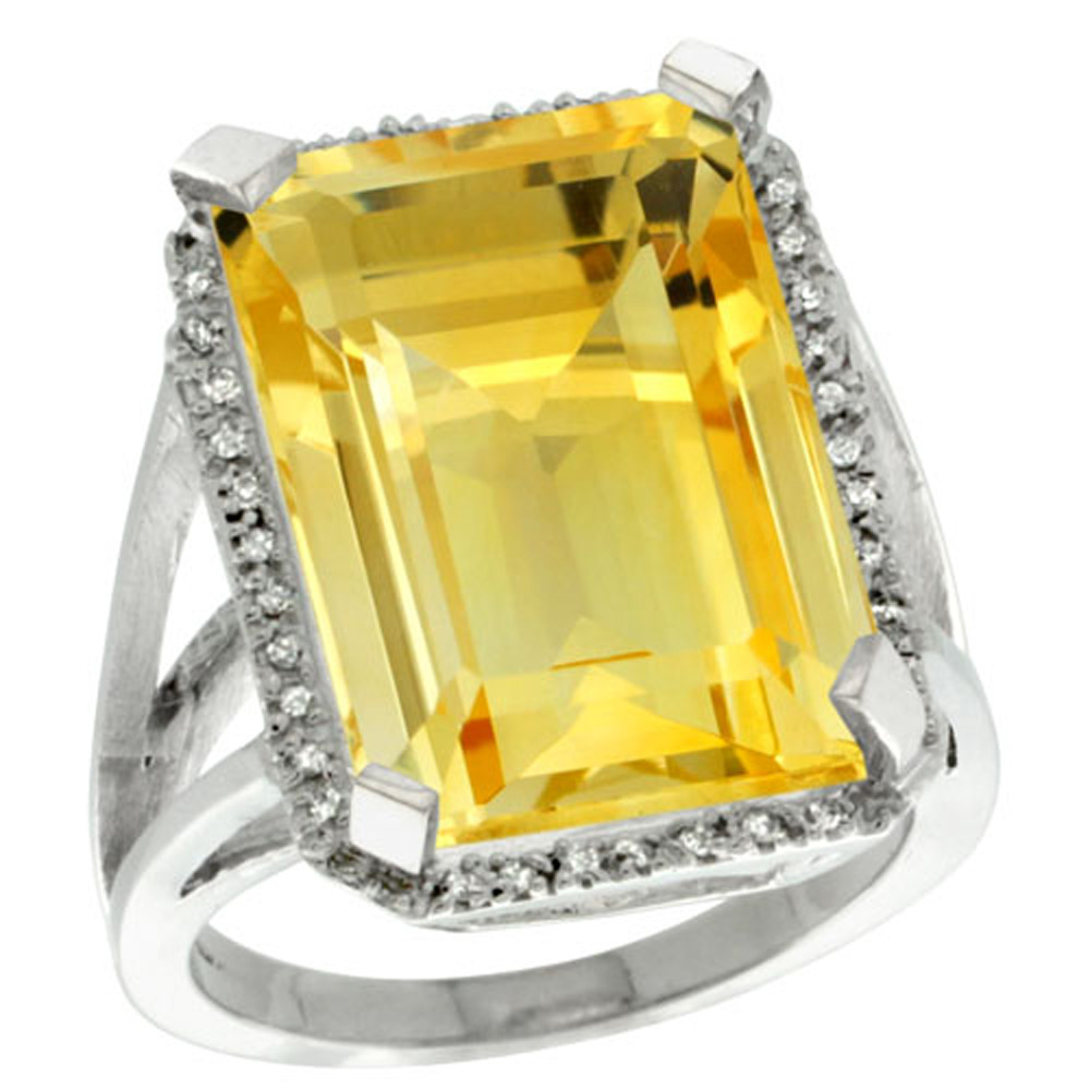 Sterling Silver Diamond Natural Citrine Ring Emerald-cut 18x13mm, 13/16 inch wide, sizes 5-10