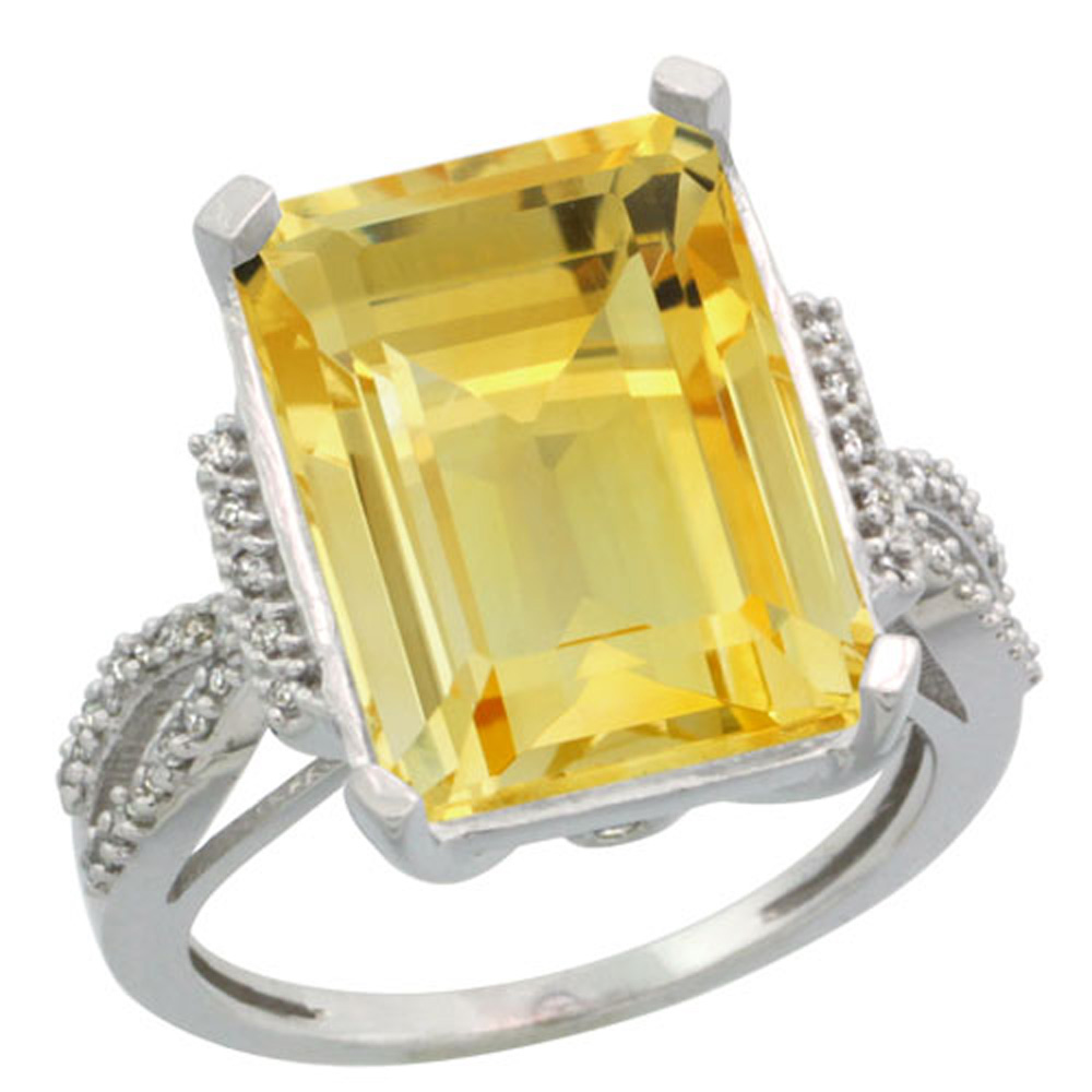 Sterling Silver Diamond Natural Citrine Ring Emerald-cut 16x12mm, 3/4 inch wide, sizes 5-10