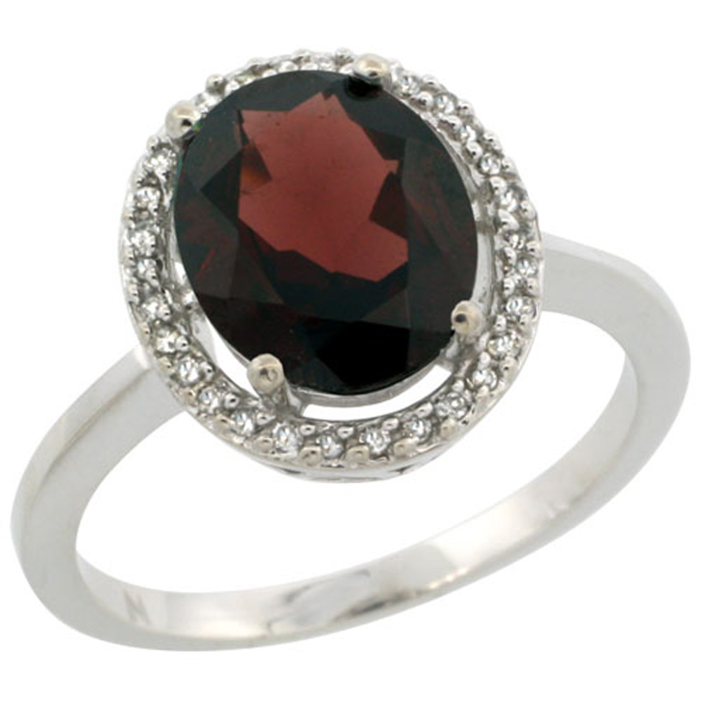 Sterling Silver Diamond Halo Natural Garnet Ring Oval 10X8 mm, 1/2 inch wide, sizes 5-10