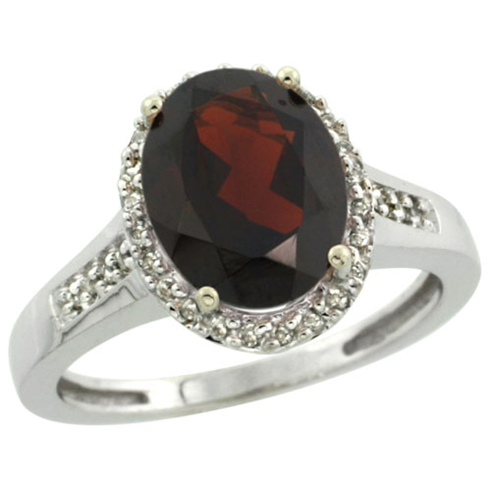 Sterling Silver Diamond Natural Garnet Ring Oval 10x8mm, 1/2 inch wide, sizes 5-10