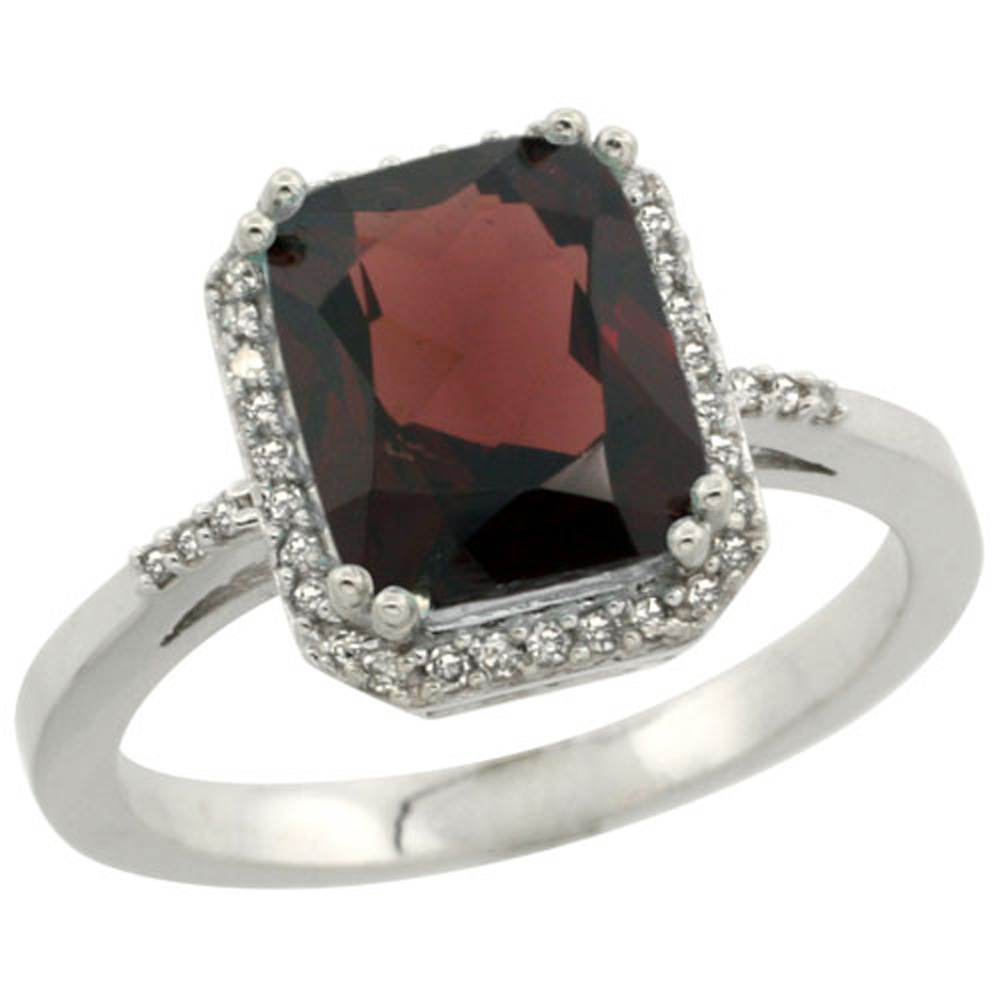 Sterling Silver Diamond Natural Garnet Ring Emerald-cut 9x7mm, 1/2 inch wide, sizes 5-10