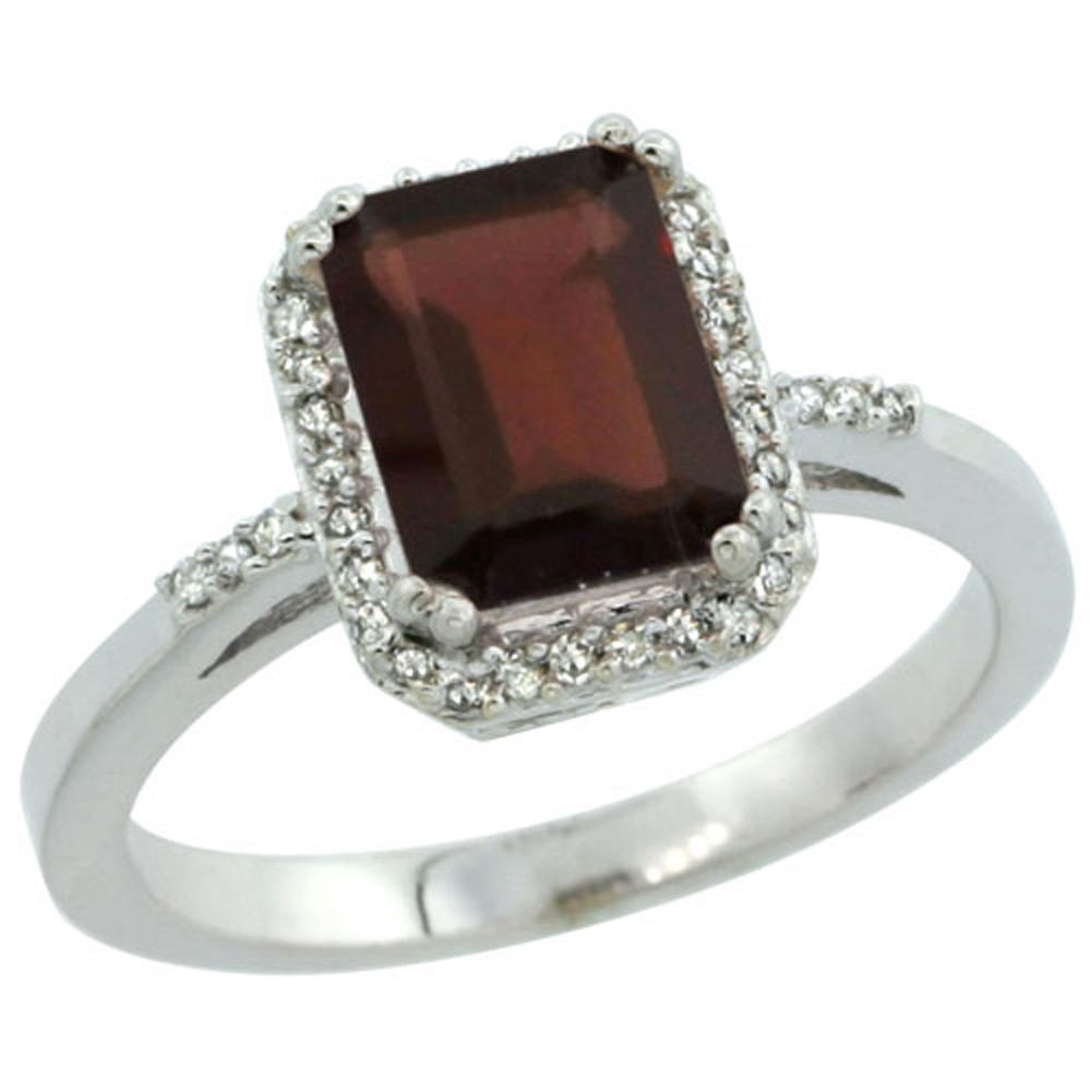 Sterling Silver Diamond Natural Garnet Ring Emerald-cut 8x6mm, 1/2 inch wide, sizes 5-10