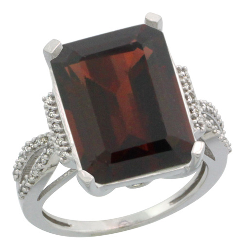 Sterling Silver Diamond Natural Mozambique Garnet Engagement Ring Emerald-cut 16x12 mm, size 5-10
