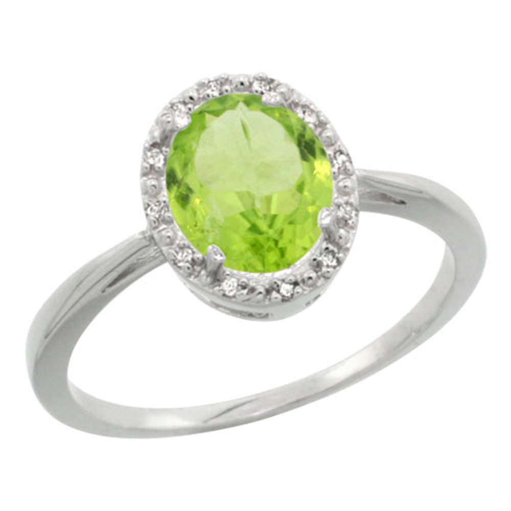 Sterling Silver Natural Peridot Diamond Halo Ring Oval 8X6mm, 1/2 inch wide, sizes 5-10