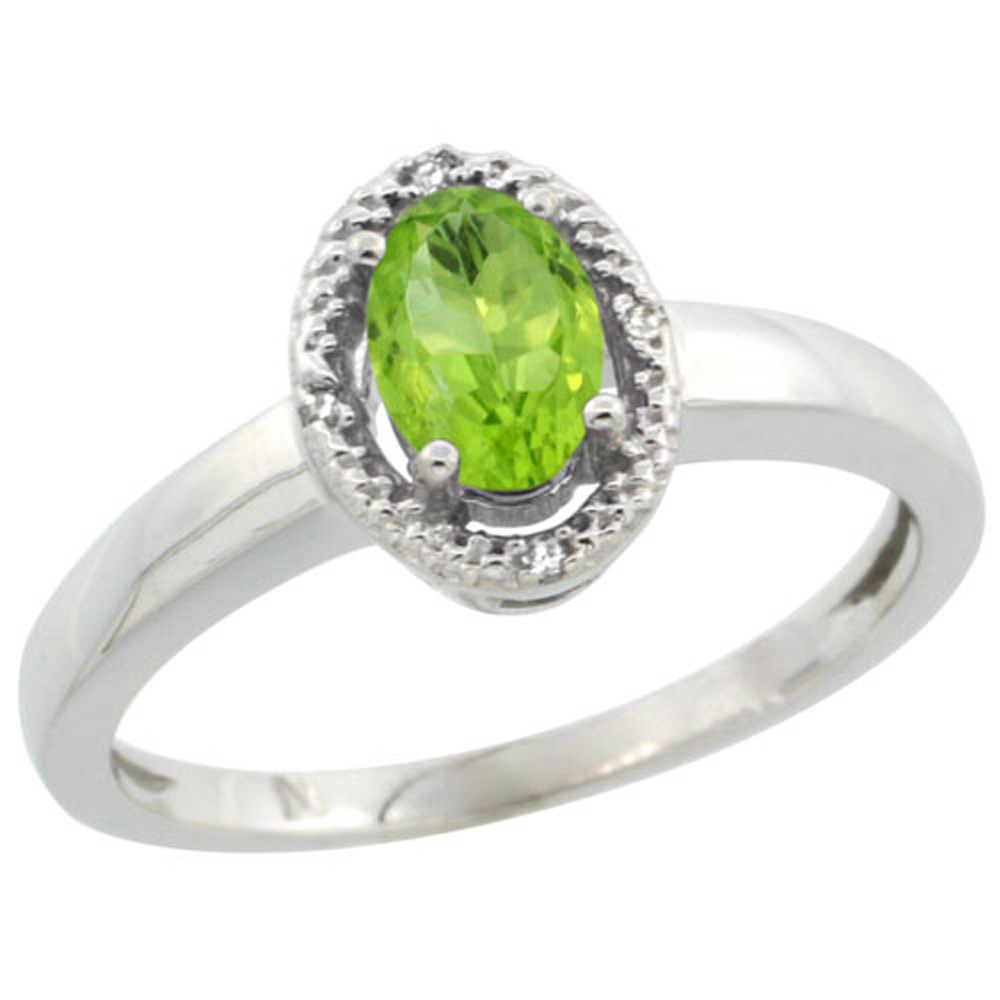 Sterling Silver Diamond Halo Natural Peridot Ring Oval 6X4 mm, 3/8 inch wide, sizes 5-10