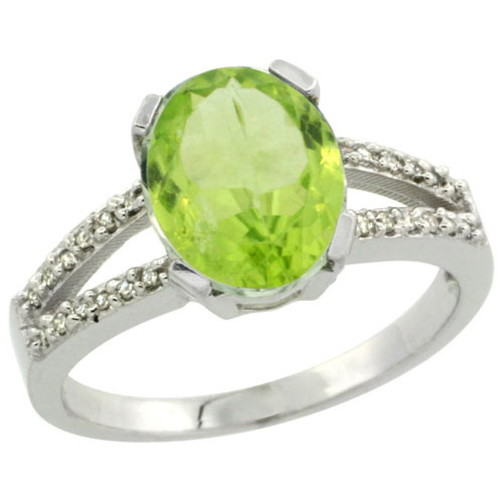 Sterling Silver Diamond Halo Natural Peridot Ring Oval 10x8mm, 3/8 inch wide, sizes 5-10