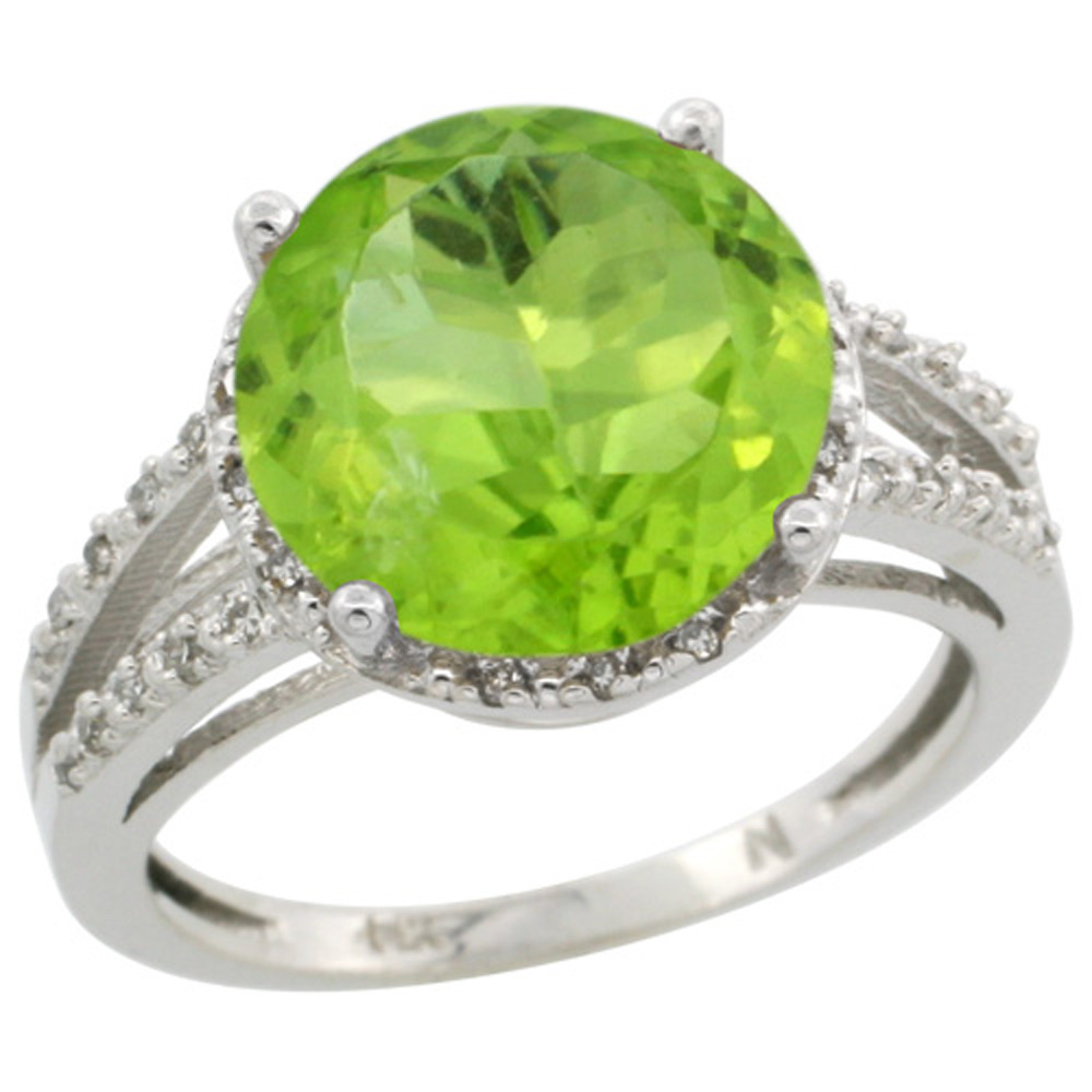 Sterling Silver Diamond Natural Peridot Ring Round 11mm, 1/2 inch wide, sizes 5-10
