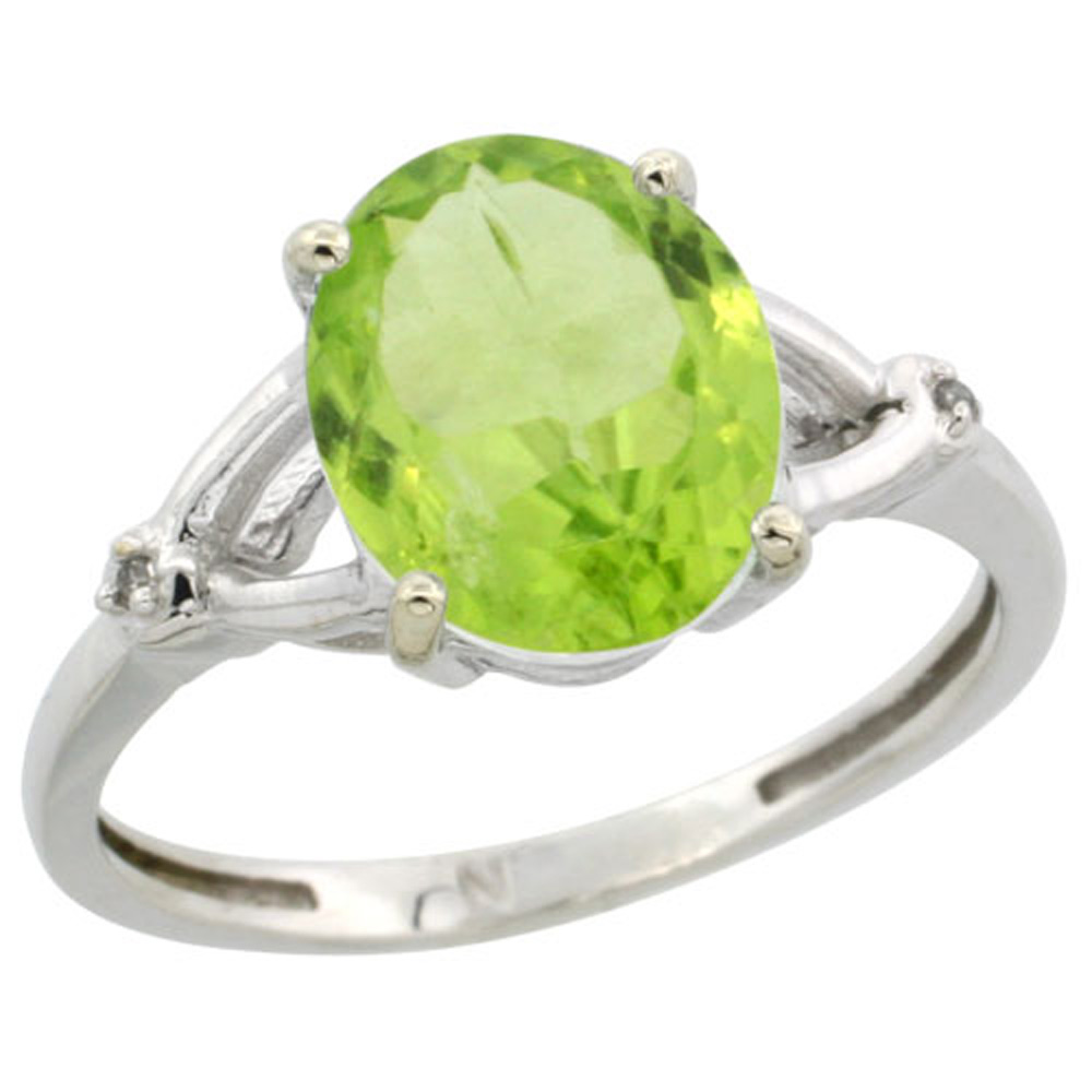 Sterling Silver Diamond Natural Peridot Ring Oval 10x8mm, 3/8 inch wide, sizes 5-10