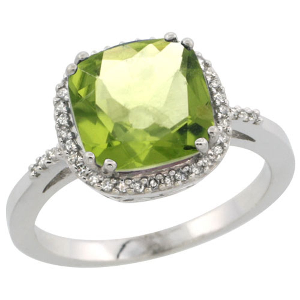 Sterling Silver Diamond Natural Peridot Ring Cushion-cut 9x9mm, 1/2 inch wide, sizes 5-10