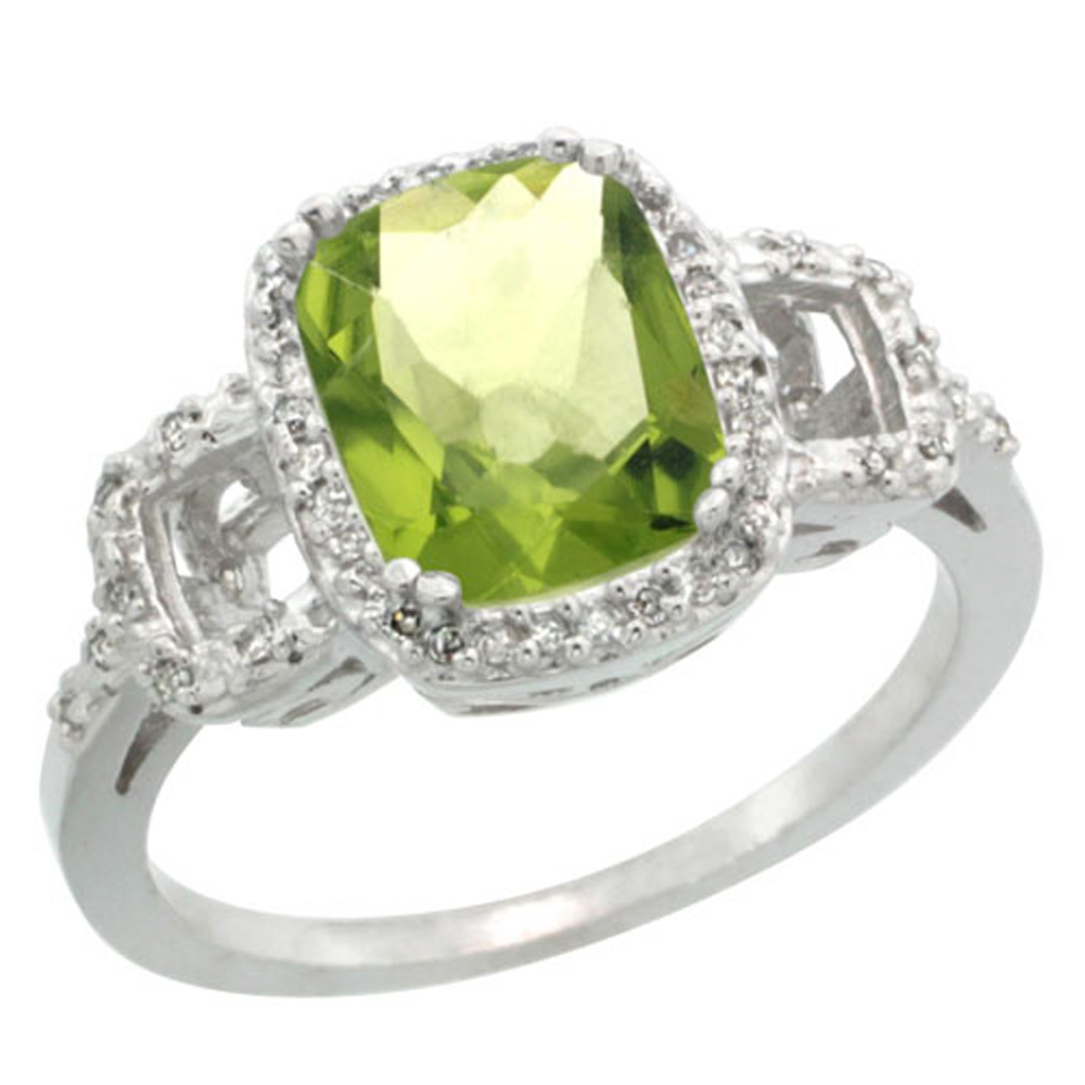 Sterling Silver Diamond Natural Peridot Ring Cushion-cut 9x7mm, 1/2 inch wide, sizes 5-10