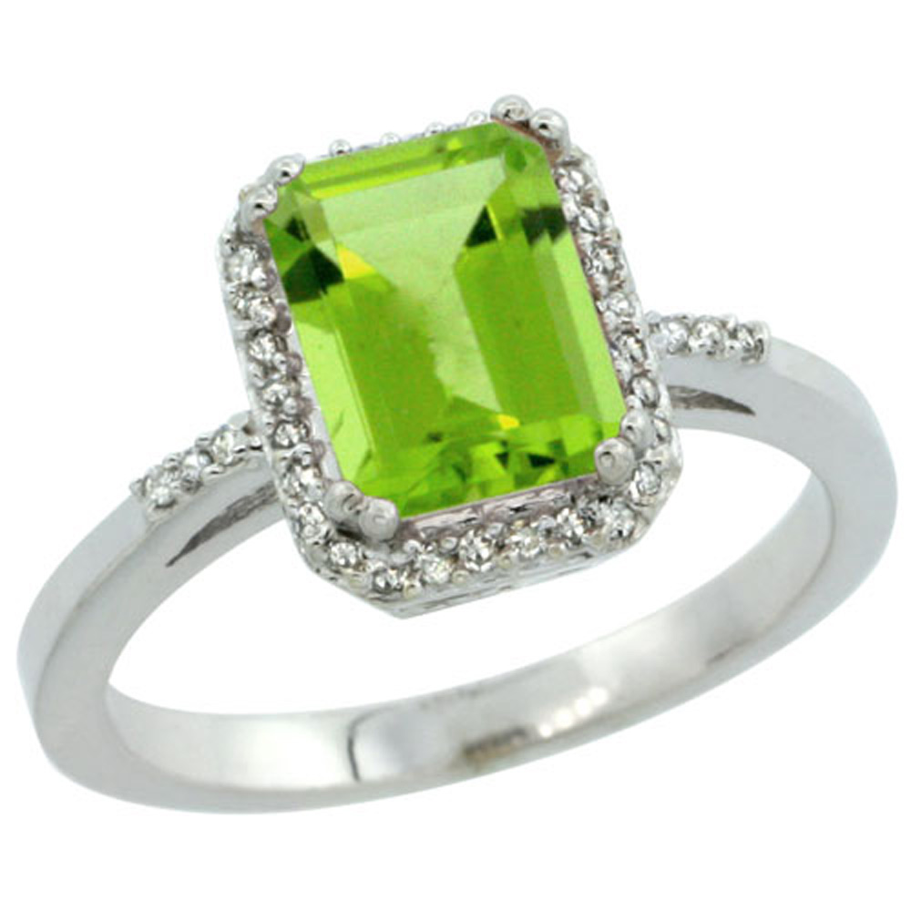 Sterling Silver Diamond Natural Peridot Ring Emerald-cut 8x6mm, 1/2 inch wide, sizes 5-10