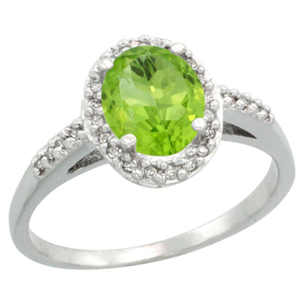 Sterling Silver Diamond Natural Peridot Ring Oval 8x6mm, 3/8 inch wide, sizes 5-10