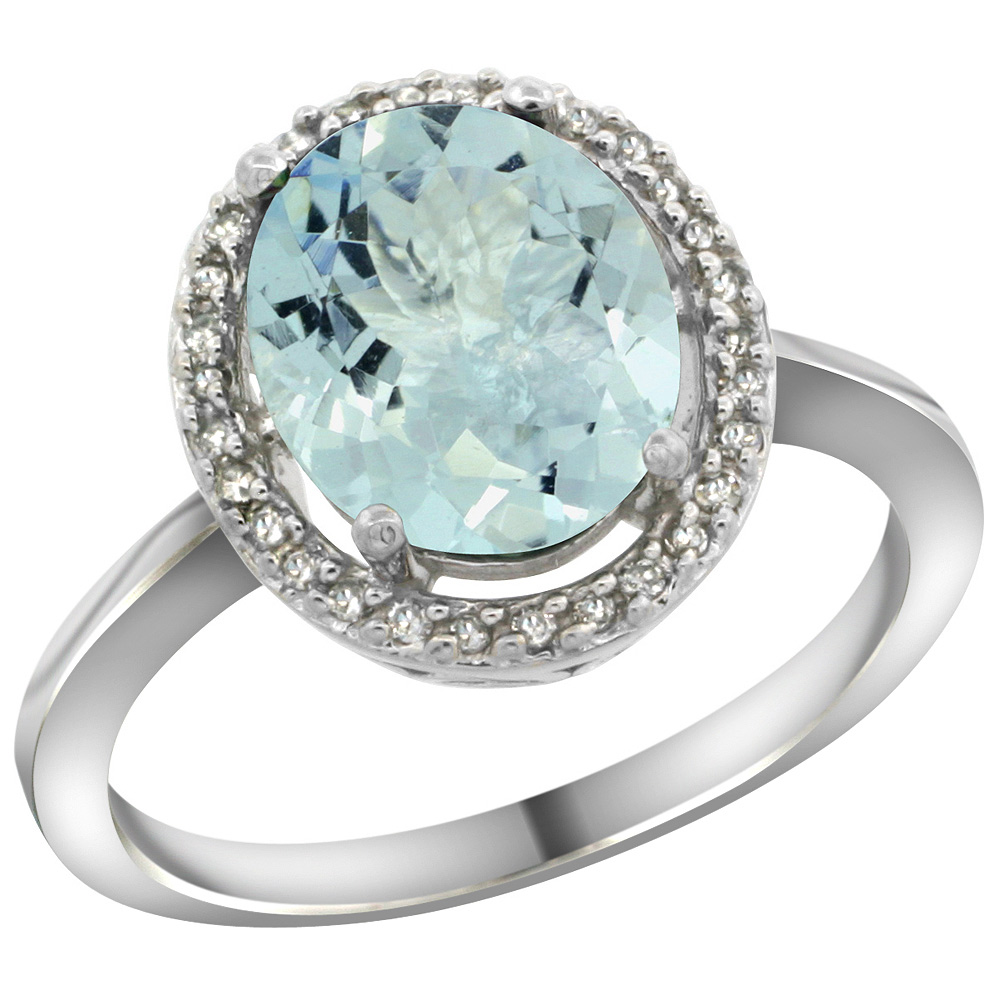 Sterling Silver Diamond Halo Natural Aquamarine Ring Oval 10X8 mm, 1/2 inch wide, sizes 5-10