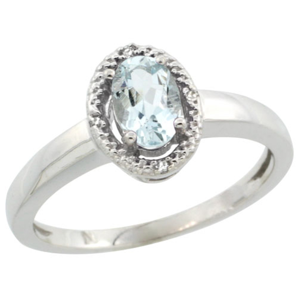 Sterling Silver Diamond Halo Natural Aquamarine Ring Oval 6X4 mm, 3/8 inch wide, sizes 5-10