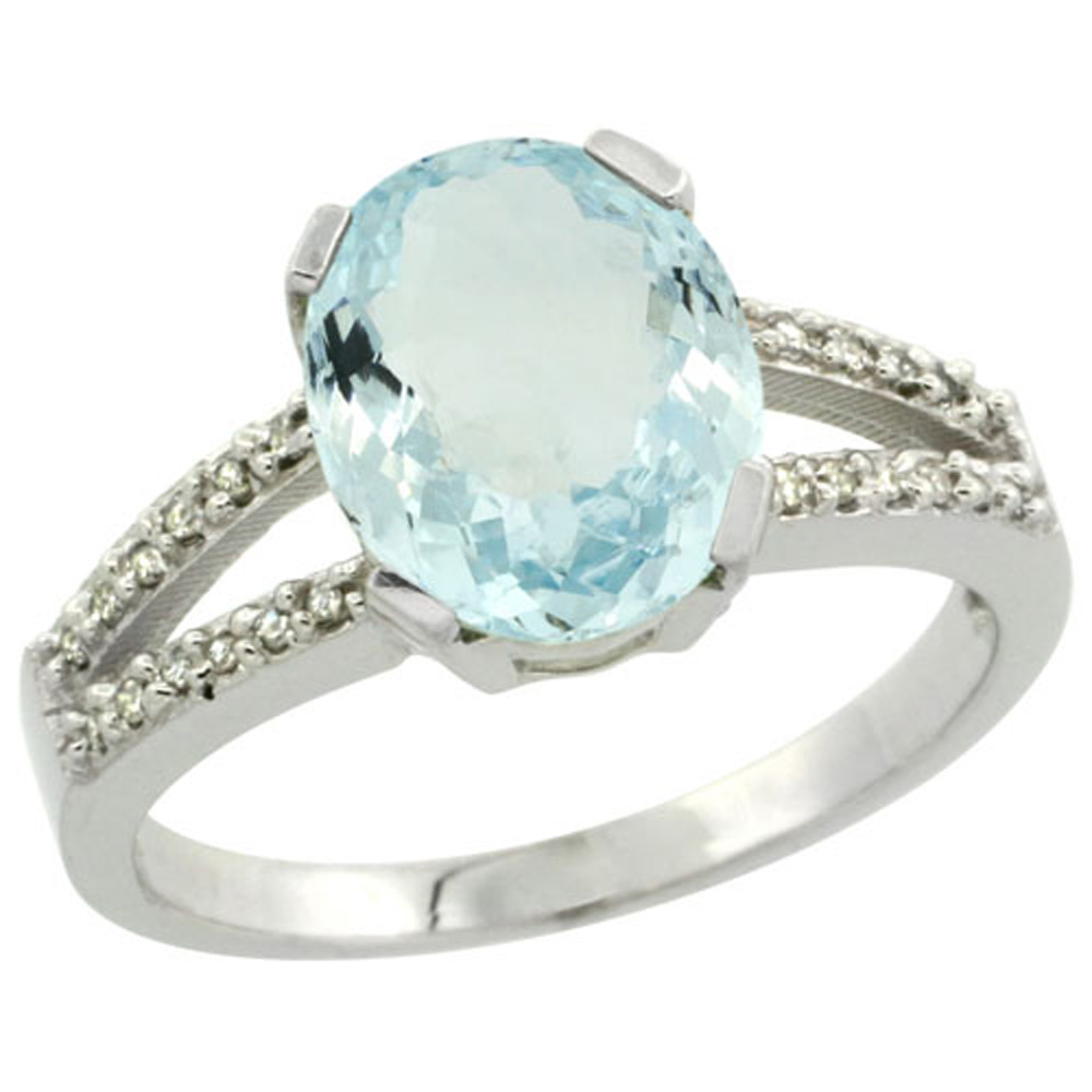Sterling Silver Diamond Halo Natural Aquamarine Ring Oval 10x8mm, 3/8 inch wide, sizes 5-10