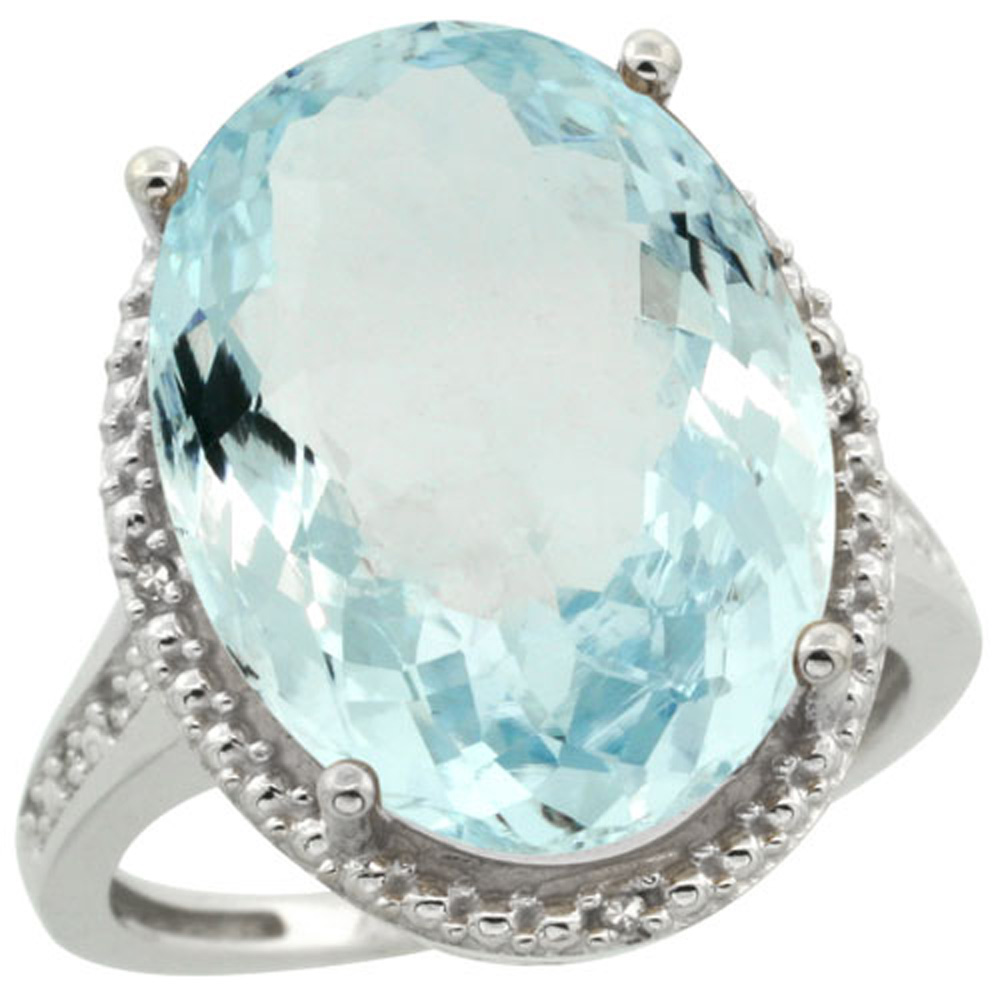 Sterling Silver Diamond Natural Aquamarine Ring Oval 18x13mm, 3/4 inch wide, sizes 5-10