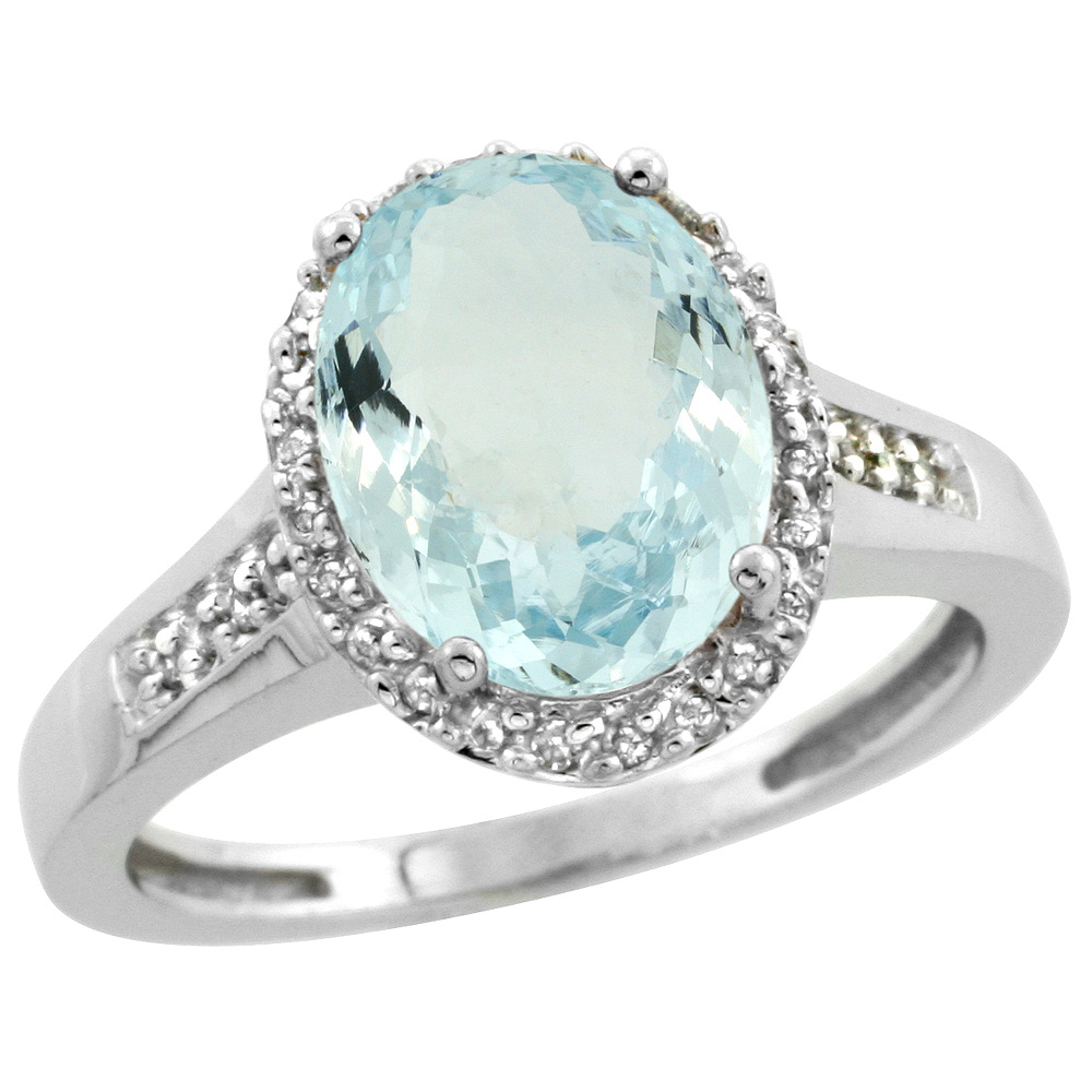 Sterling Silver Diamond Natural Aquamarine Ring Oval 10x8mm, 1/2 inch wide, sizes 5-10
