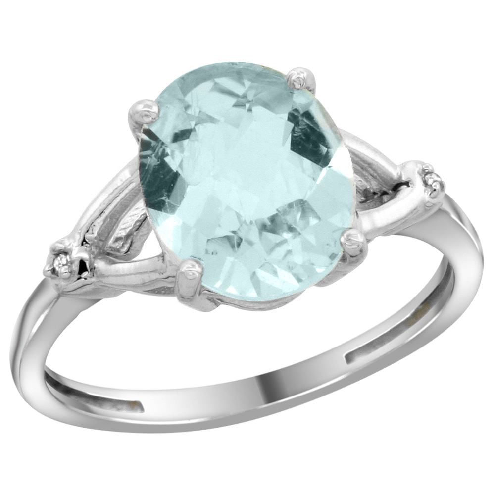 Sterling Silver Diamond 10x8mm Oval Natural Aquamarine Engagement Ring for Women 3/8 inch wide Sizes 5-10