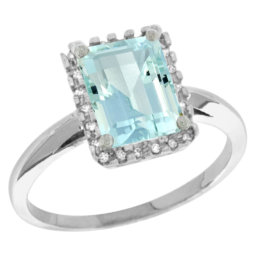 Sterling Silver Diamond Natural Aquamarine Ring Emerald-cut 8x6mm, 1/2 inch wide, sizes 5-10