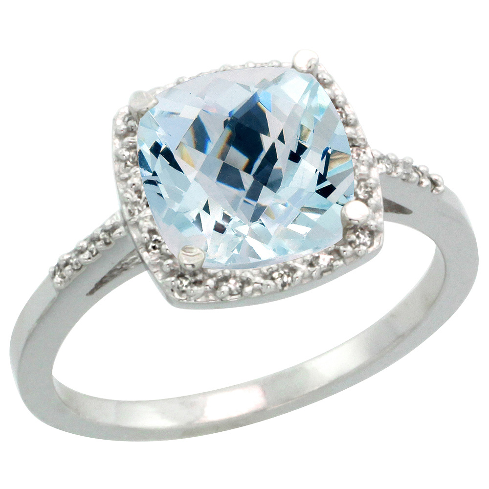 Sterling Silver Diamond Natural Aquamarine Ring Cushion-cut 8x8mm, 1/2 inch wide, sizes 5-10