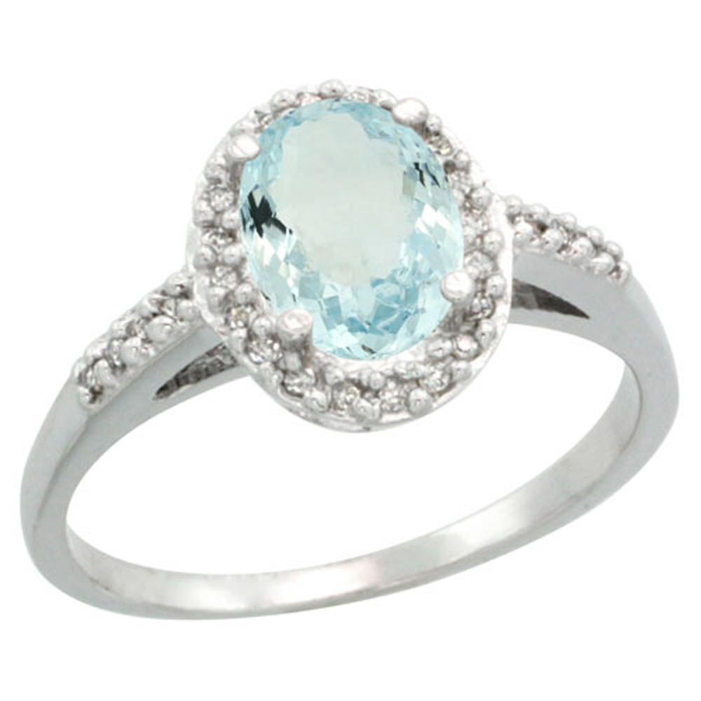 Sterling Silver Diamond Natural Aquamarine Ring Oval 8x6mm, 3/8 inch wide, sizes 5-10