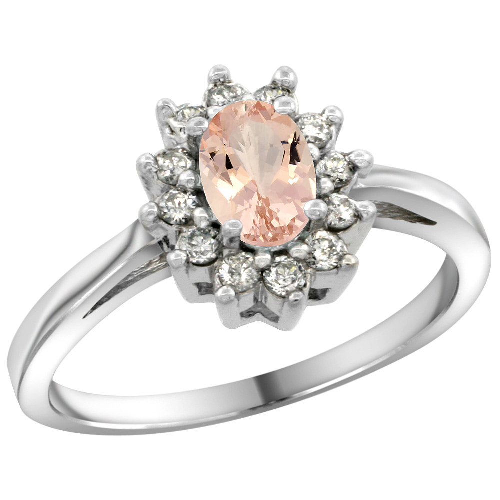 Sterling Silver Natural Morganite Diamond Flower Halo Ring Oval 6X4mm, 3/8 inch wide, sizes 5 10