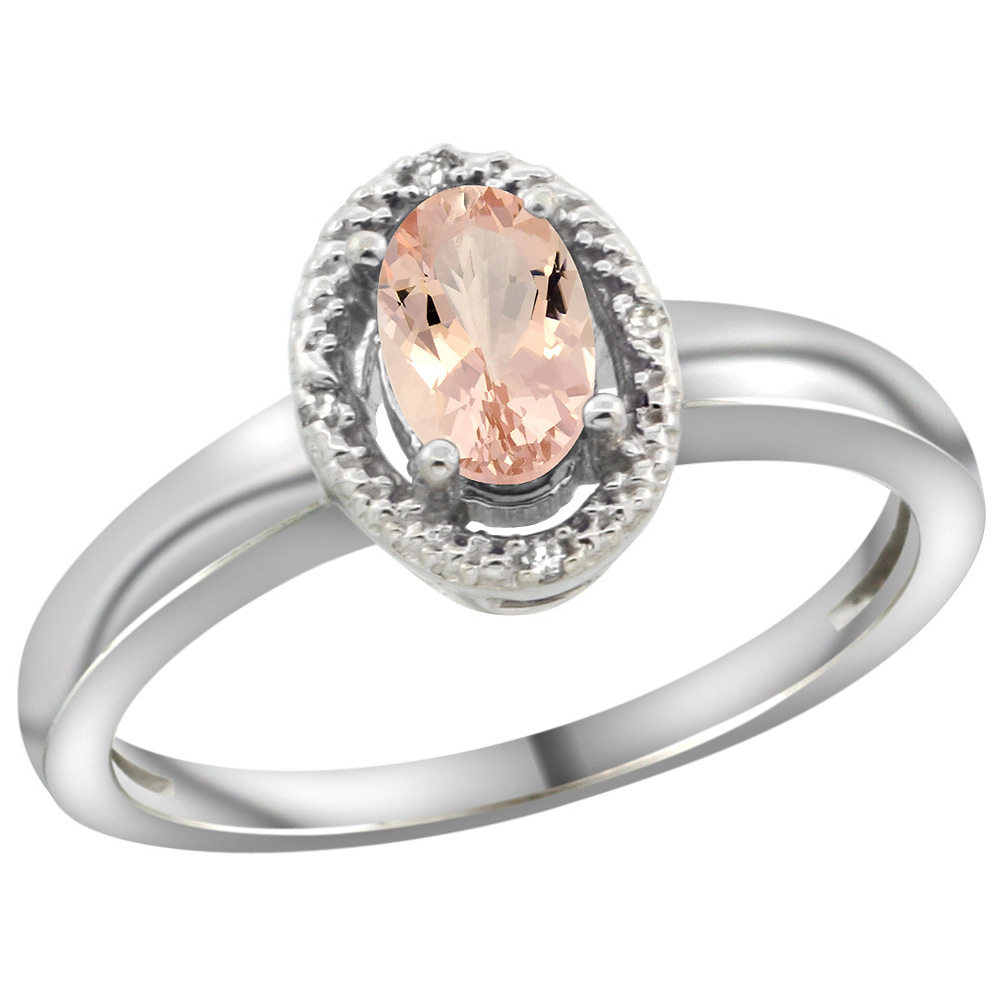 Sterling Silver Diamond Halo Natural Morganite Ring Oval 6X4 mm, 3/8 inch wide, sizes 5-10