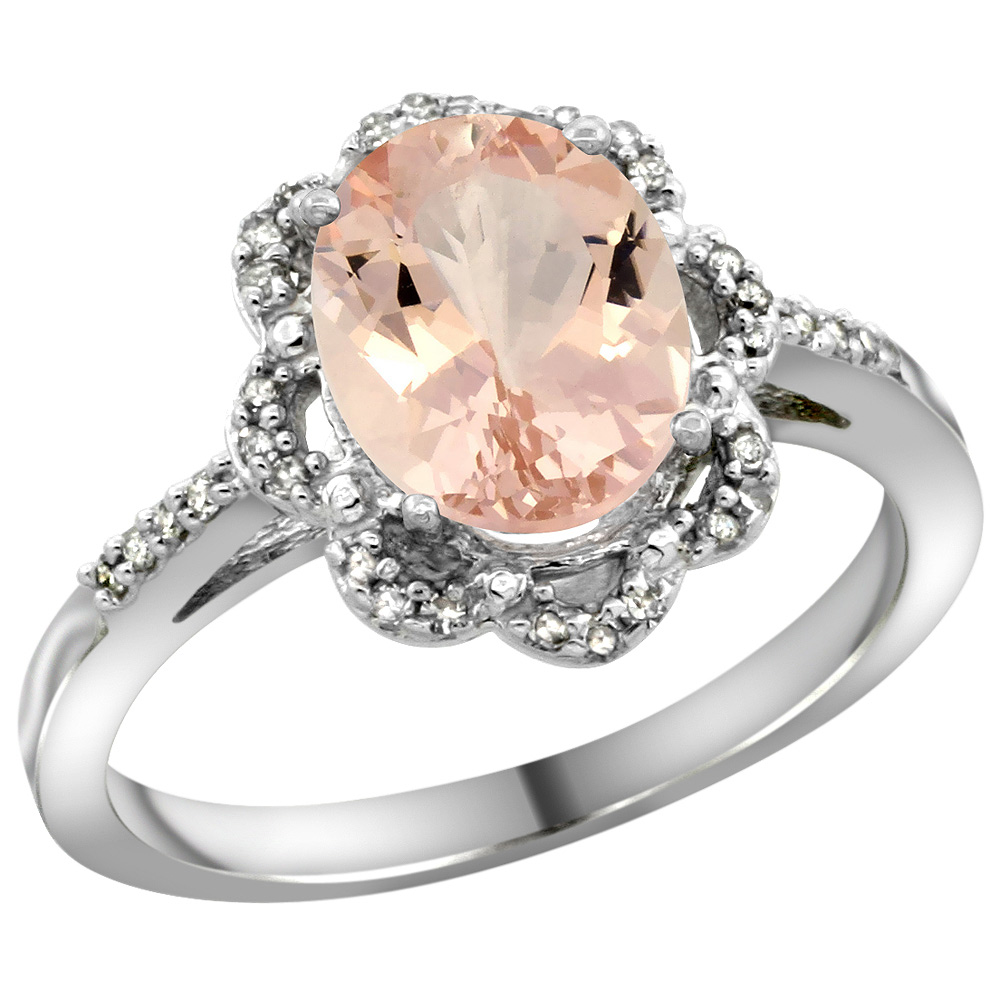 Sterling Silver Diamond Halo Natural Morganite Ring Oval 9x7mm, 7/16 inch wide, sizes 5-10
