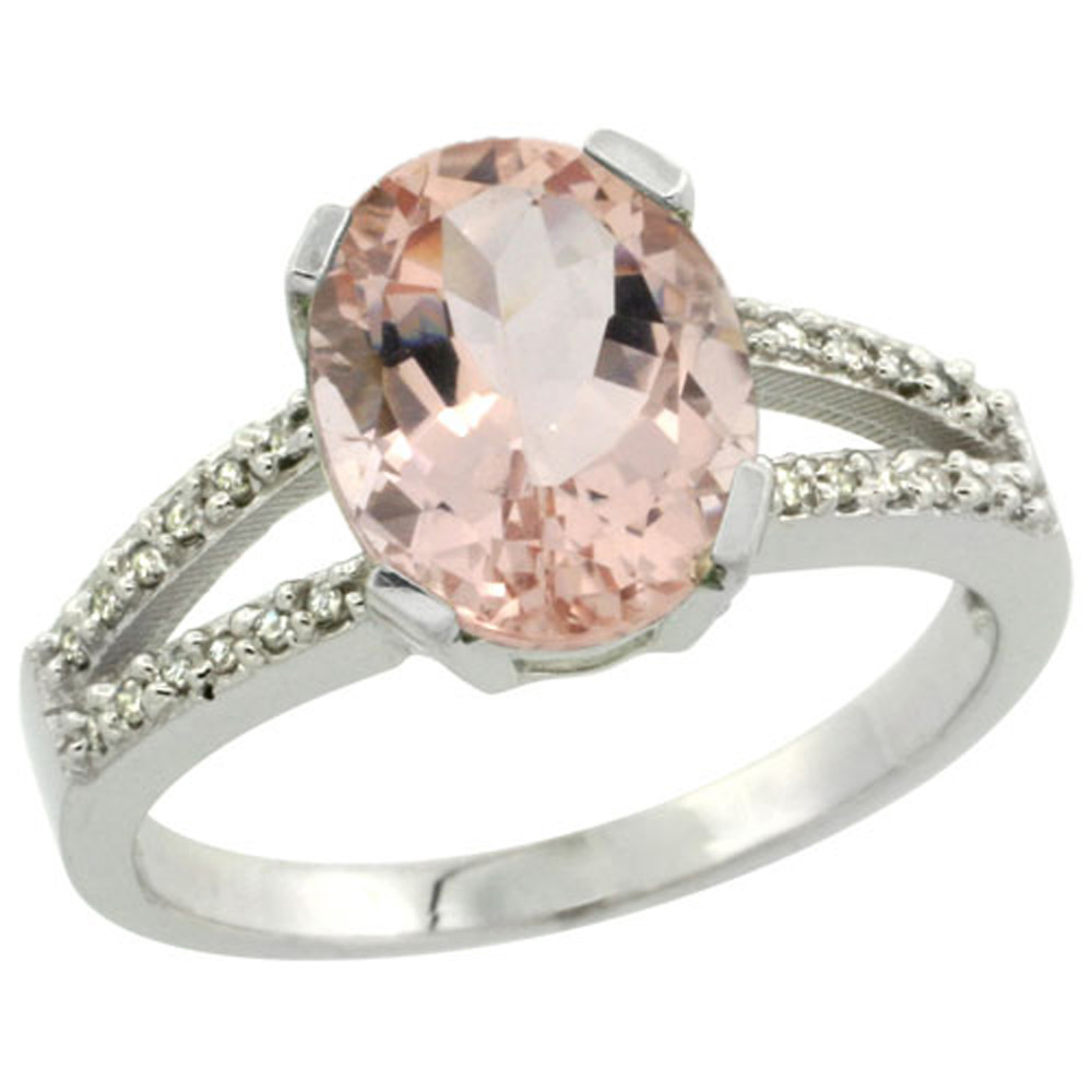 Sterling Silver Diamond Halo Natural Morganite Ring Oval 10x8mm, 3/8 inch wide, sizes 5-10