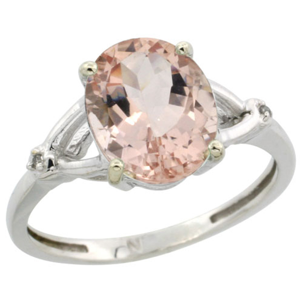 Sterling Silver Diamond Natural Morganite Ring Oval 10x8mm, 3/8 inch wide, sizes 5-10