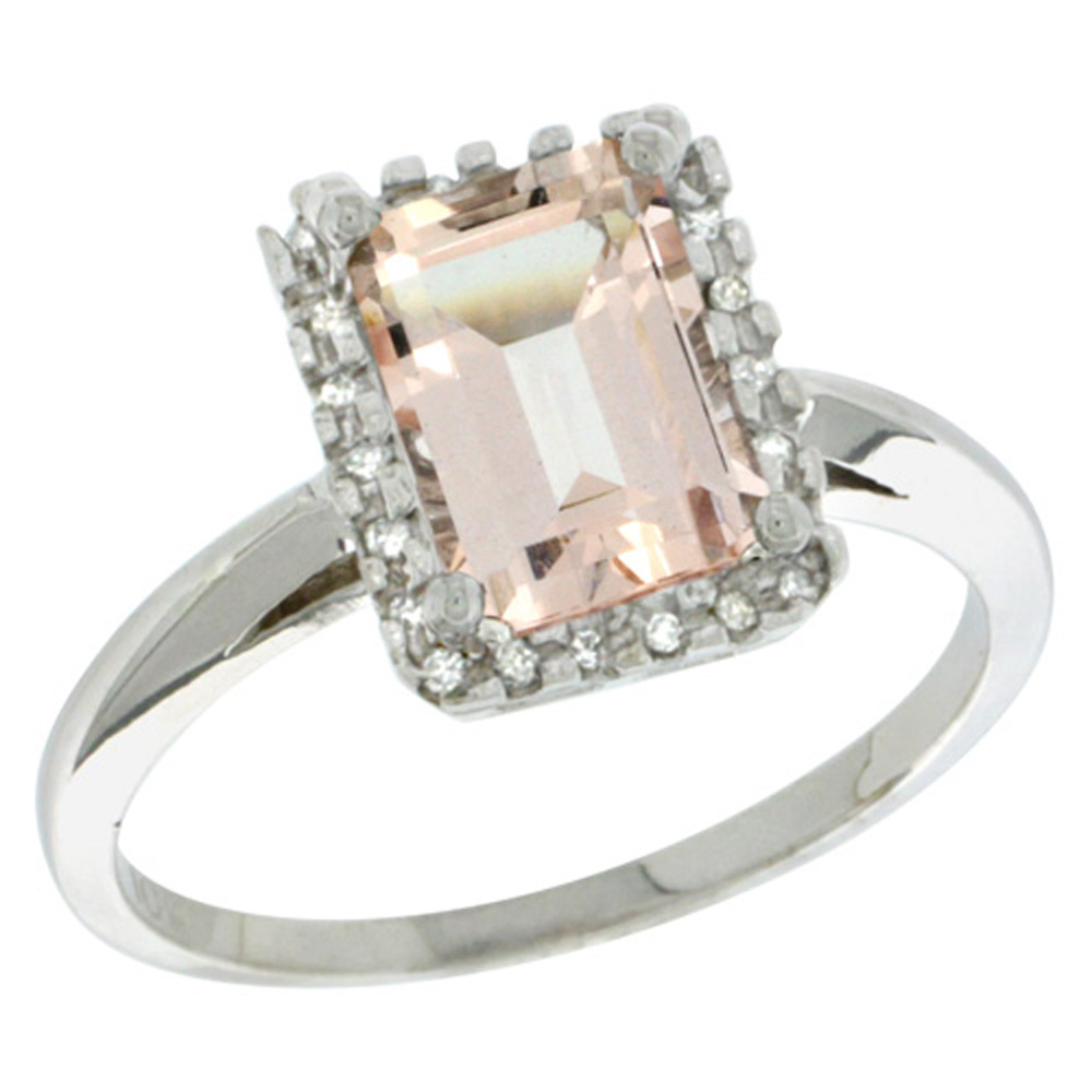 Sterling Silver Diamond Morganite Ring Emerald-cut 8x6mm, 1/2 inch wide, sizes 5-10