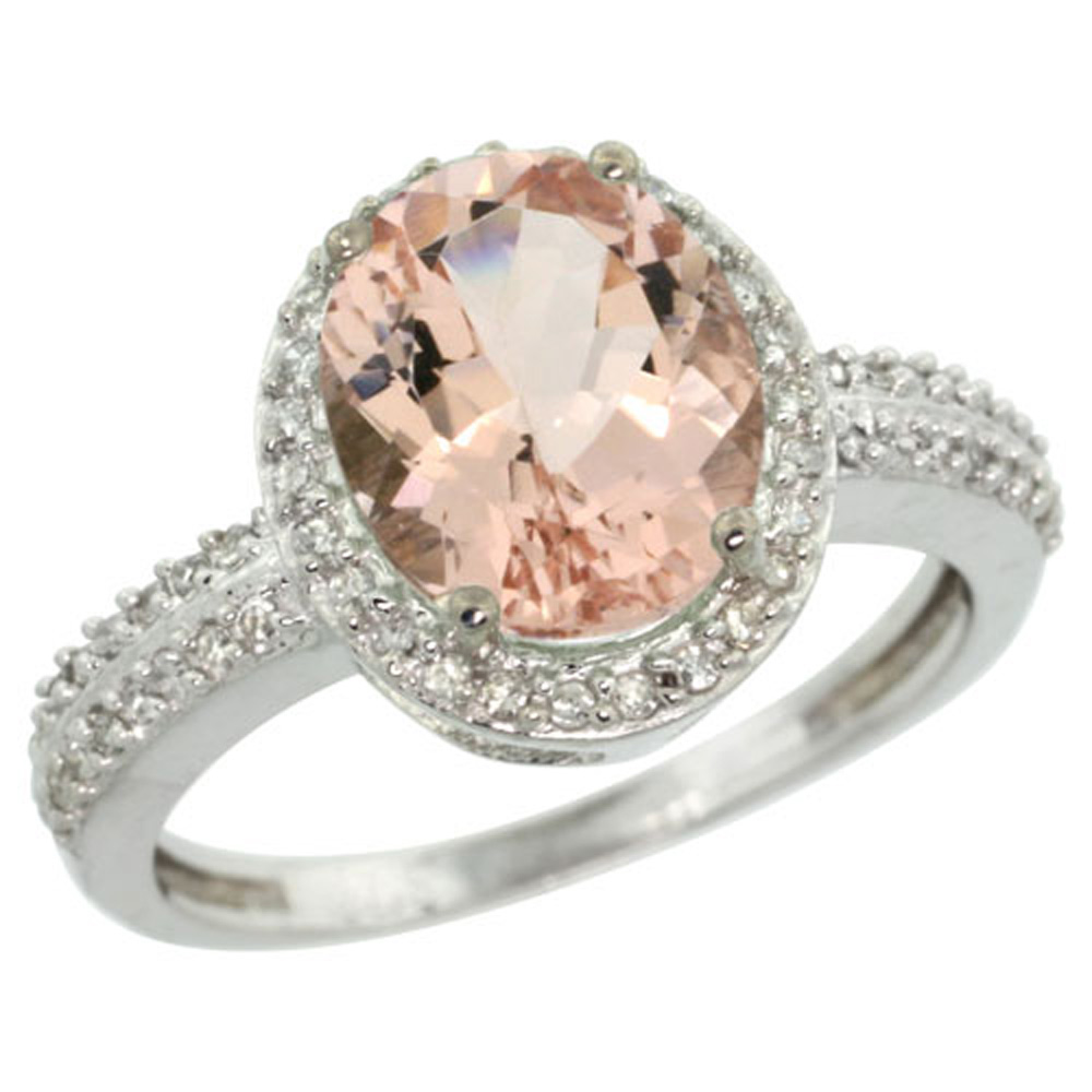 Sterling Silver Diamond Natural Morganite Ring Oval 10x8mm, 1/2 inch wide, sizes 5-10