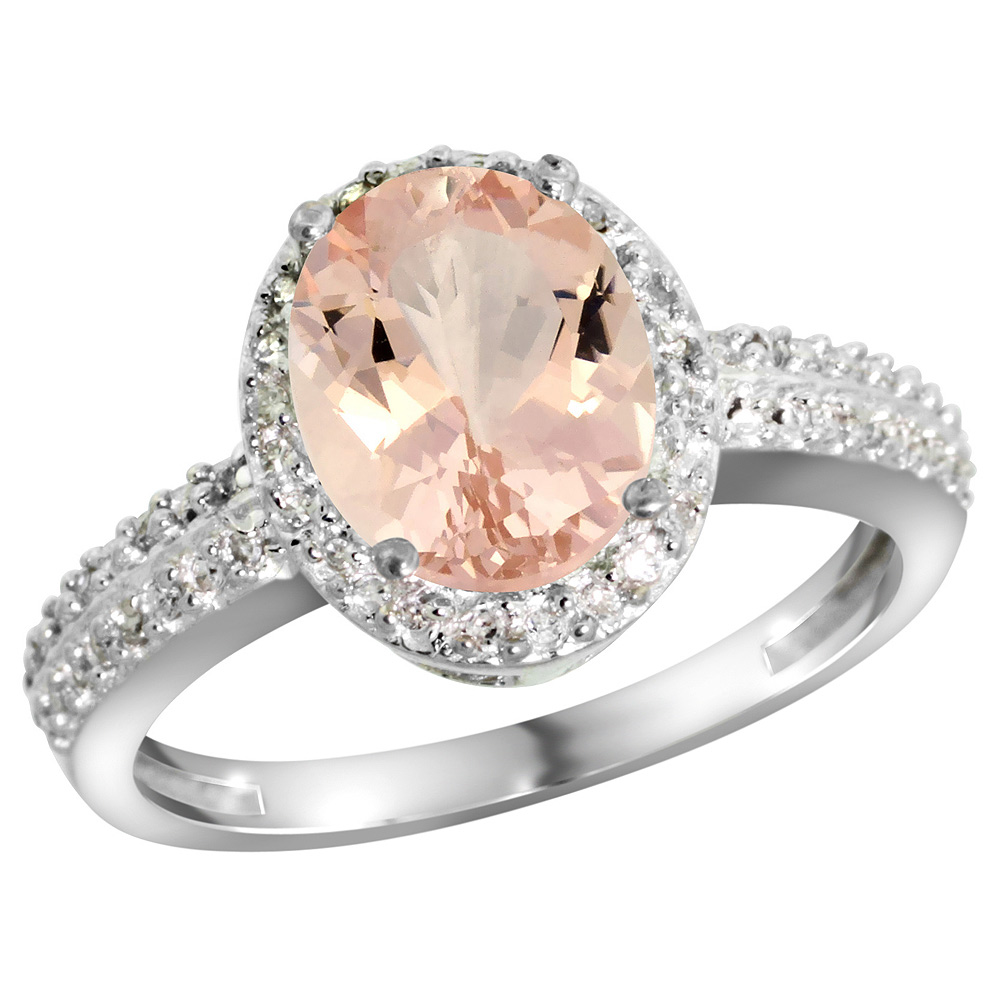 Sterling Silver Diamond Natural Morganite Ring Oval 9x7mm, 1/2 inch wide, sizes 5-10