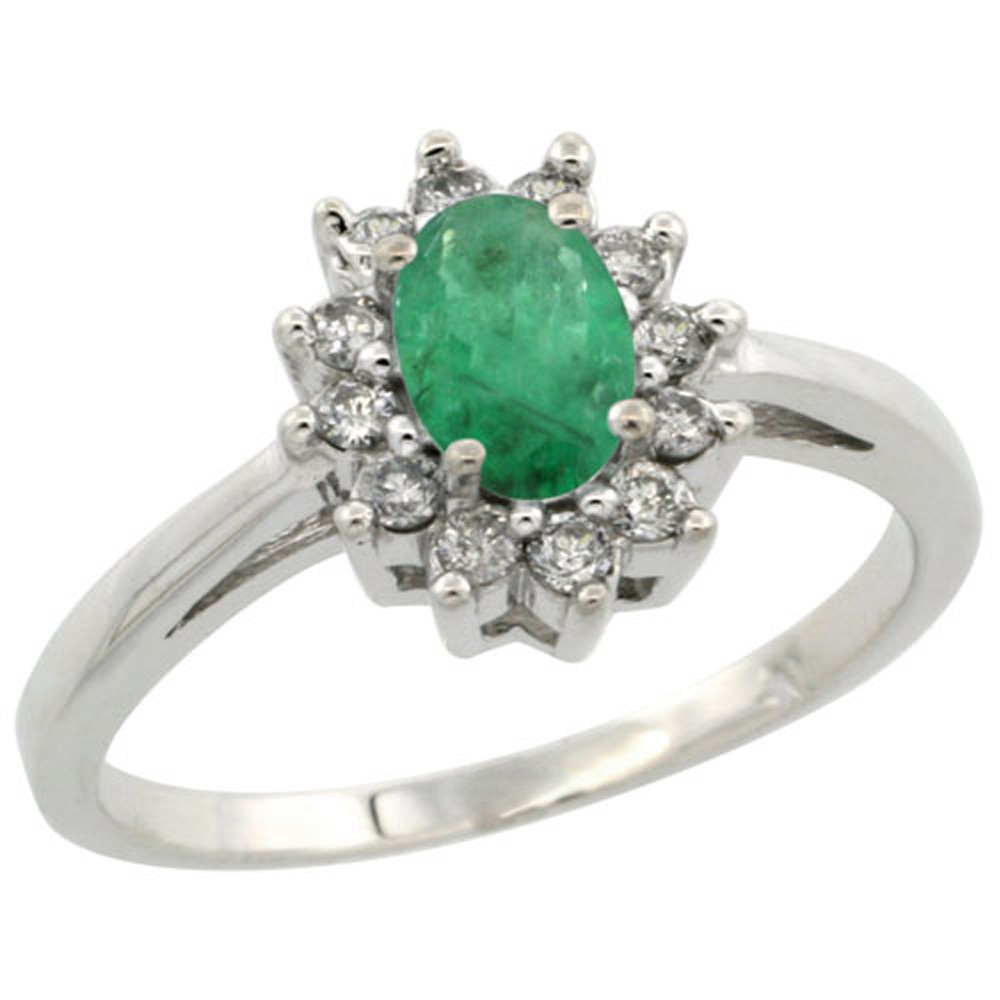 Sterling Silver Natural Emerald Diamond Flower Halo Ring Oval 6X4mm, 3/8 inch wide, sizes 5 10