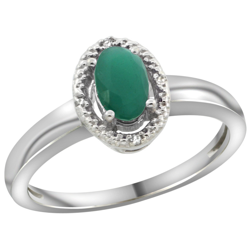 Sterling Silver Diamond Halo Natural Emerald Ring Oval 6X4 mm, 3/8 inch wide, sizes 5-10