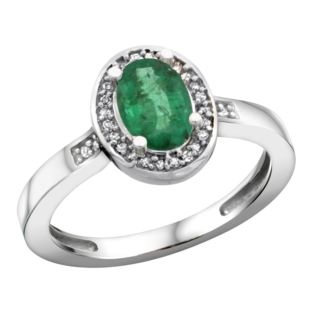 Sterling Silver Diamond Natural Emerald Ring Oval 7x5mm, 1/2 inch wide, sizes 5-10