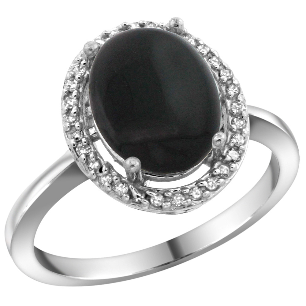 Sterling Silver Diamond Natural Black Onyx Ring Oval 10x8mm, 1/2 inch wide, sizes 5-10
