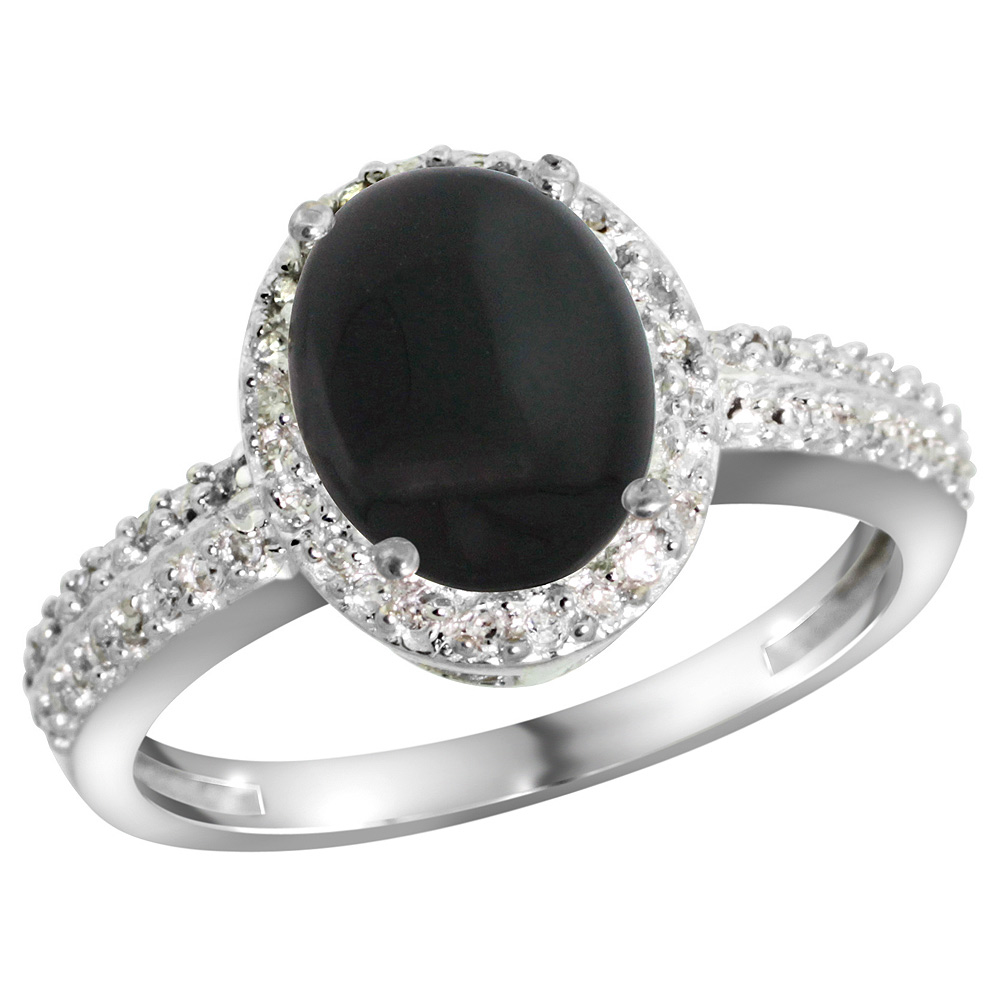 Sterling Silver Diamond Natural Black Onyx Ring Oval 9x7mm, 1/2 inch wide, sizes 5-10