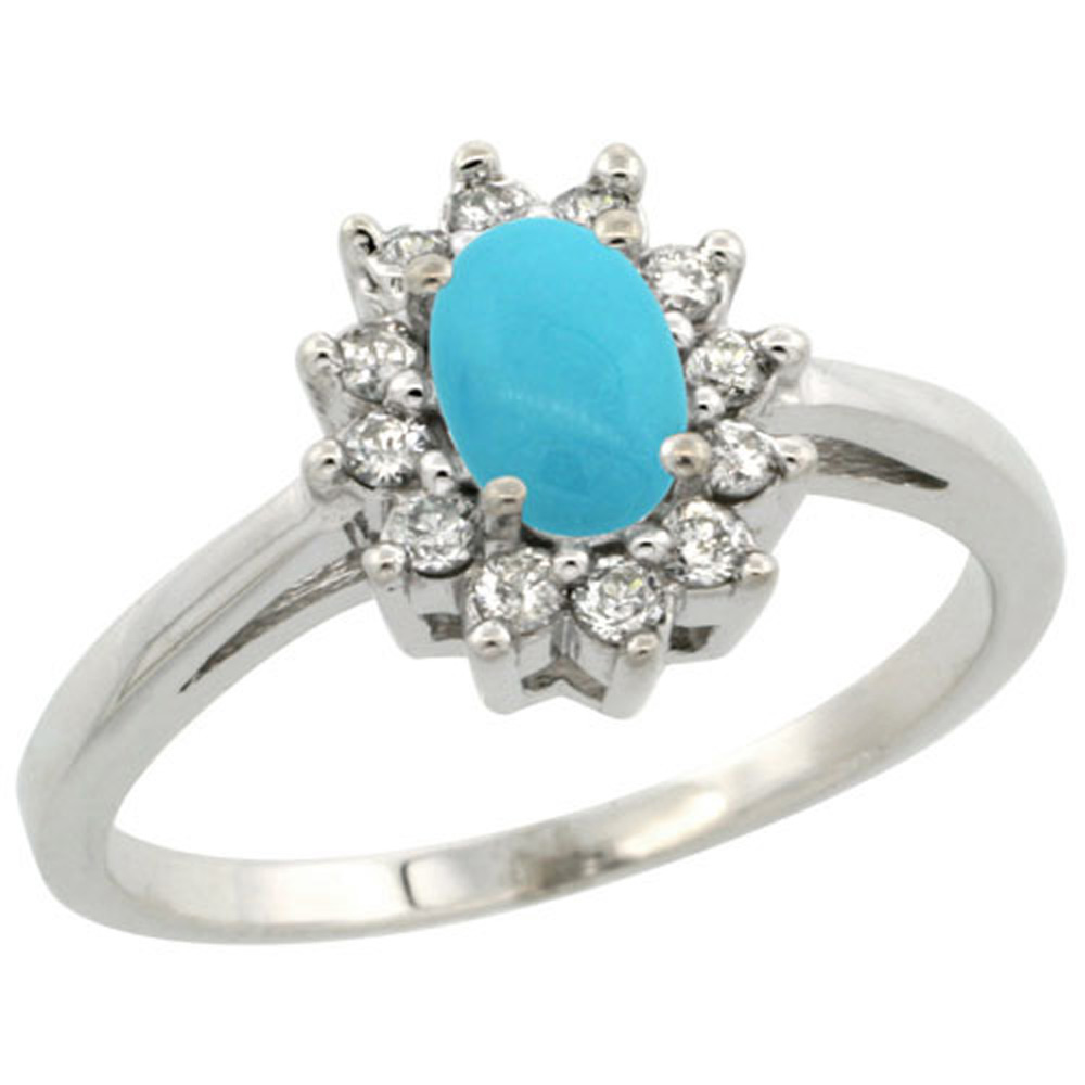 Sterling Silver Sleeping Beauty Turquoise Diamond Flower Halo Ring Oval 6X4mm, 3/8 inch wide, sizes 5-10