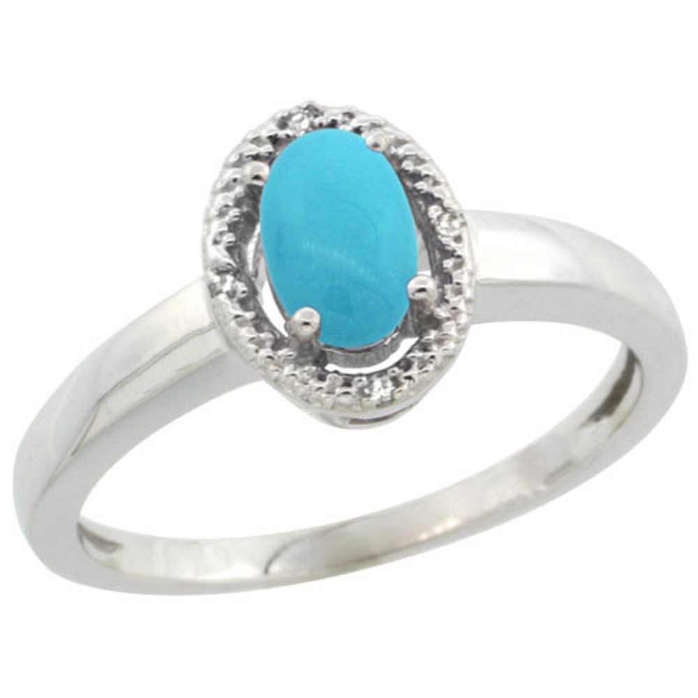 Sterling Silver Diamond Halo Sleeping Beauty Turquoise Ring Oval 6X4 mm, 3/8 inch wide, sizes 5-10