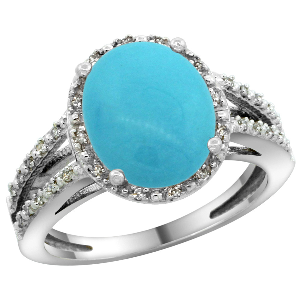 Sterling Silver Diamond Halo Sleeping Beauty Turquoise Ring Oval 11x9mm, 7/16 inch wide, sizes 5-10