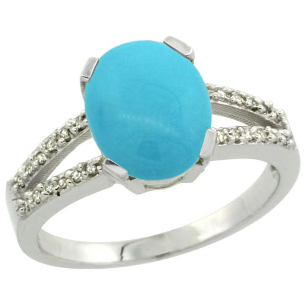 Sterling Silver Diamond Halo Sleeping Beauty Turquoise Ring Oval 10x8mm, 3/8 inch wide, sizes 5-10